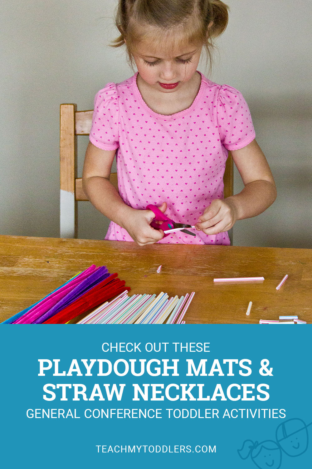 Check out these playdough mats and straw necklaces for general conference toddler activities