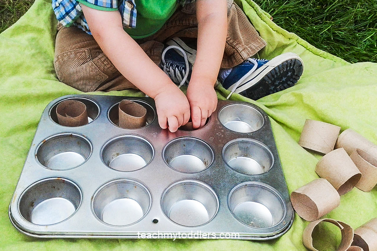 Use this muffin tin and cardboard rolls for your toddler during general conference