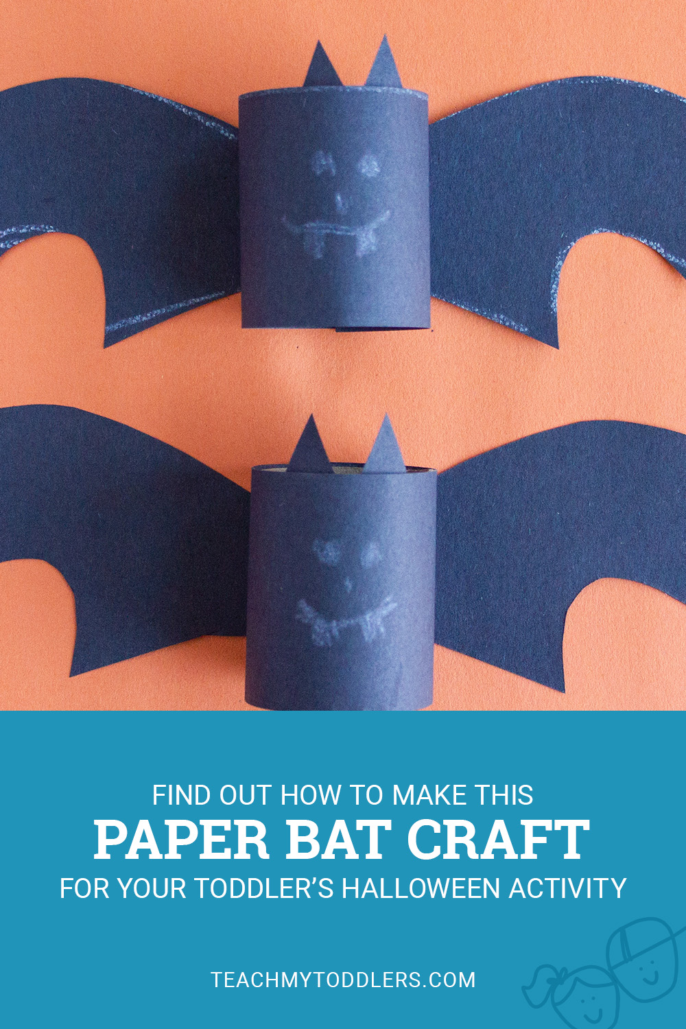 Find out how to make this paper bat craft for toddler's halloween activity