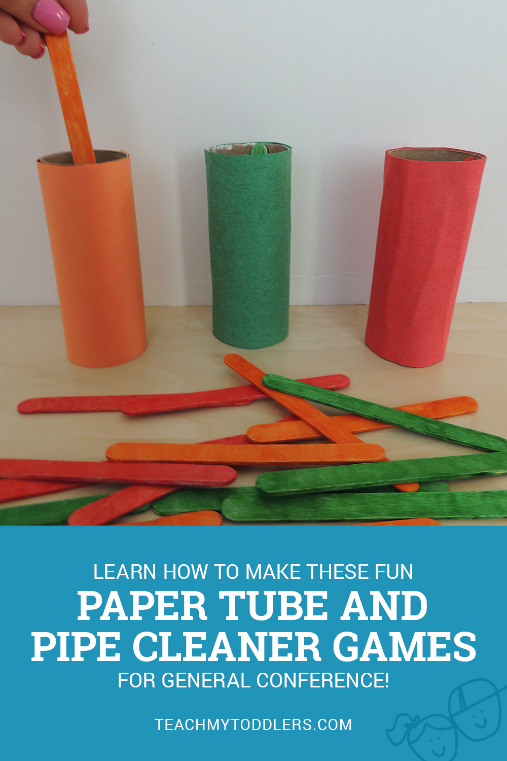 Learn how to make these fun paper tube and pipe cleaner games for your toddler for General Conference!