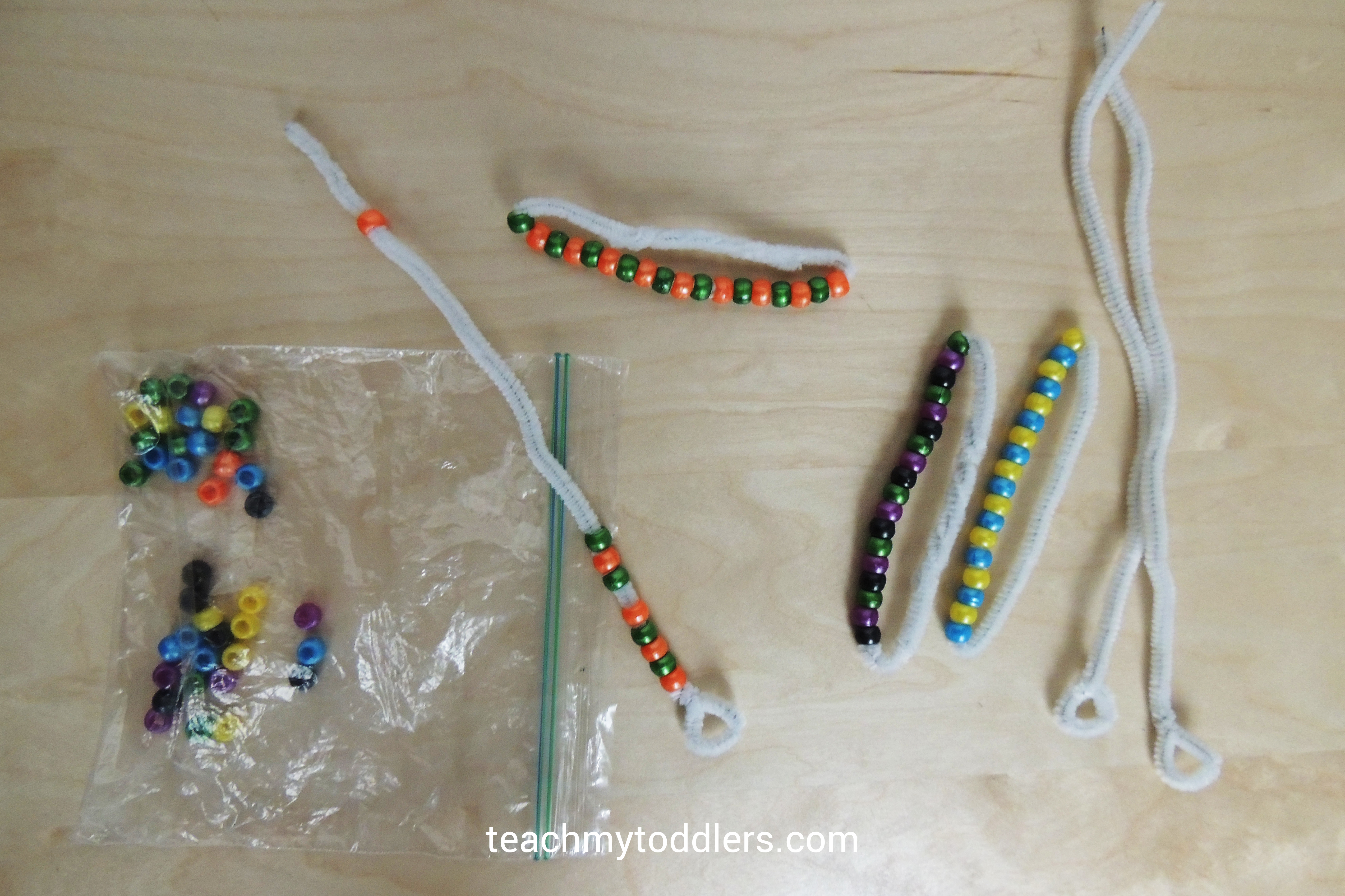 Pipe cleaners and beads toddler activity for General Conference