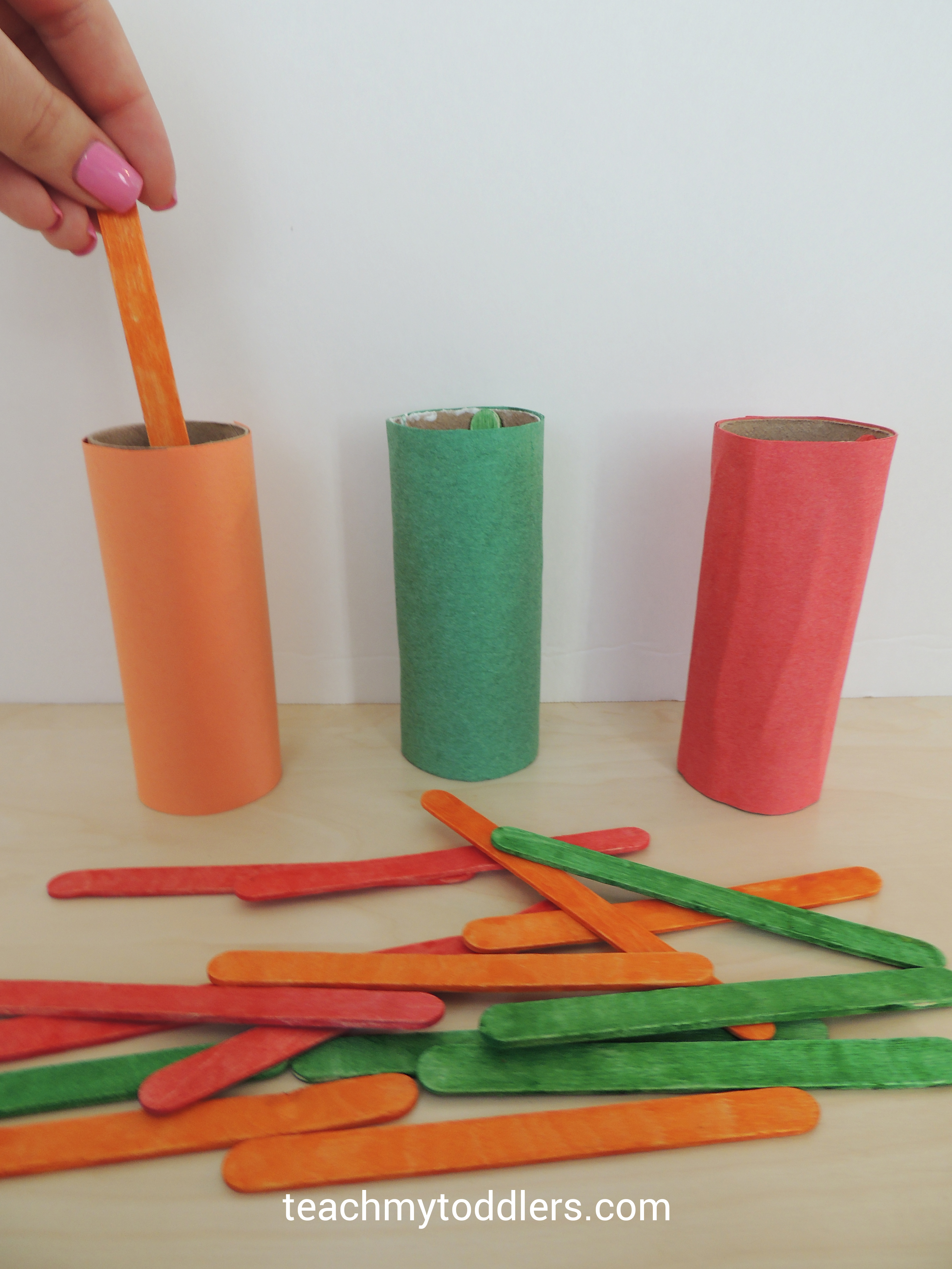 Popsicle sticks and paper tubes toddler General Conference games
