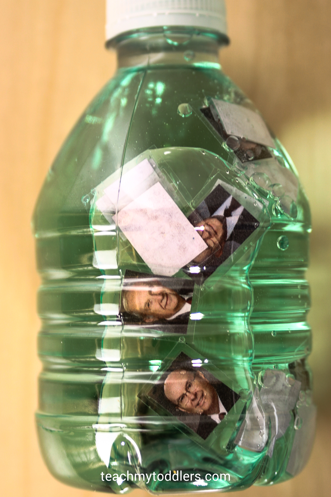 Your toddlers will love this General Conference sensory water bottle filled with pictures of prophets and apostles