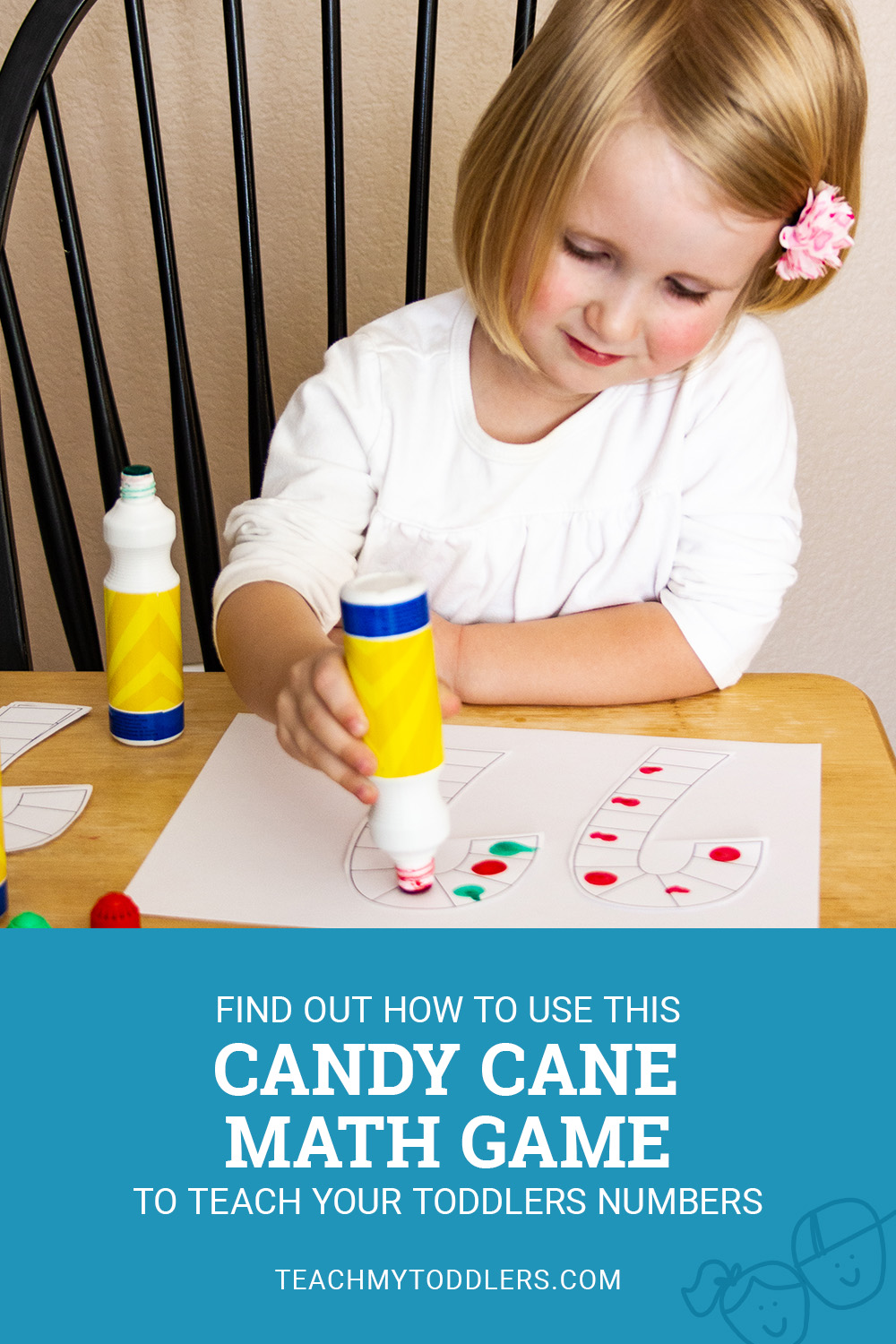Find out how to use this candy cane math game to teach your toddlers number