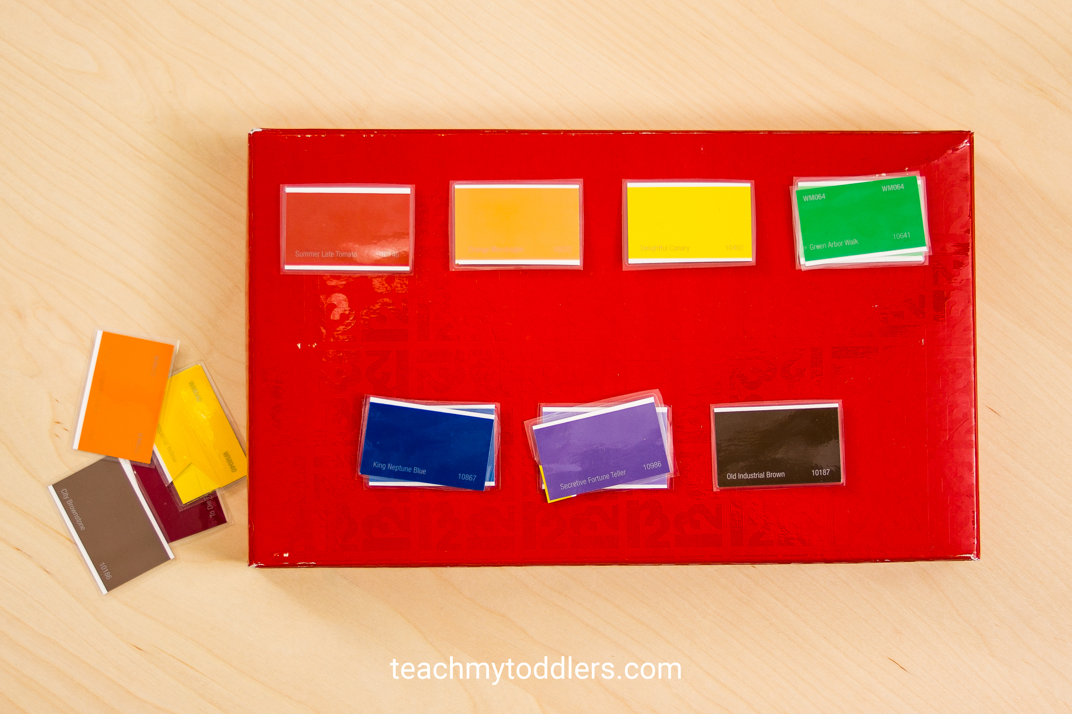 A fun activity to teach your toddlers colors with these paint chips