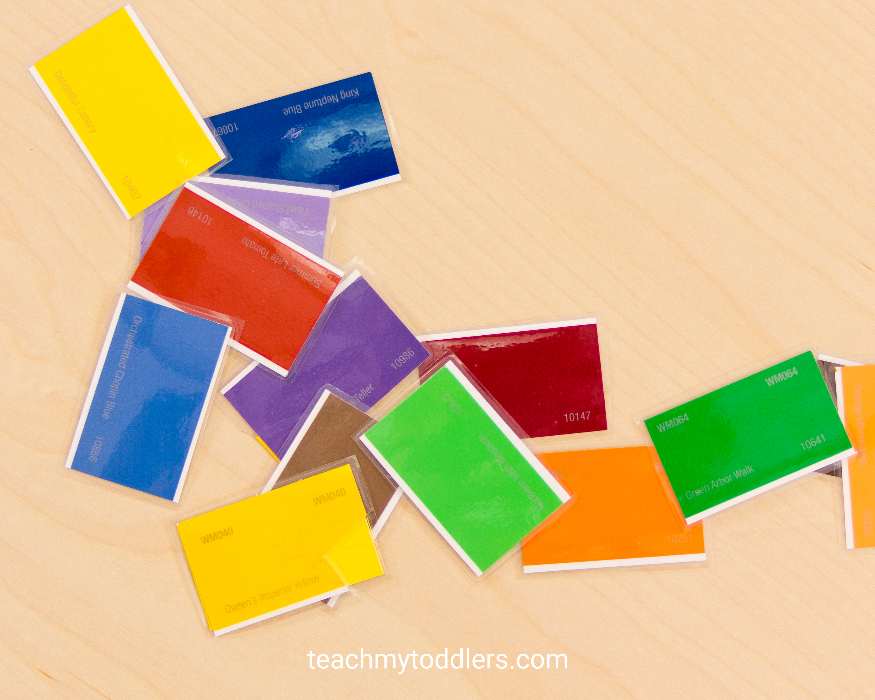 A fun way to teach your toddlers colors with these paint chips