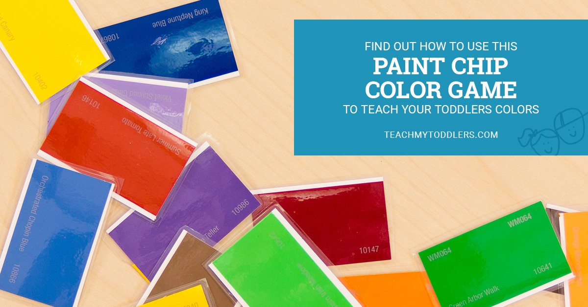Find out how to use this paint chip color game to teach toddlers colors