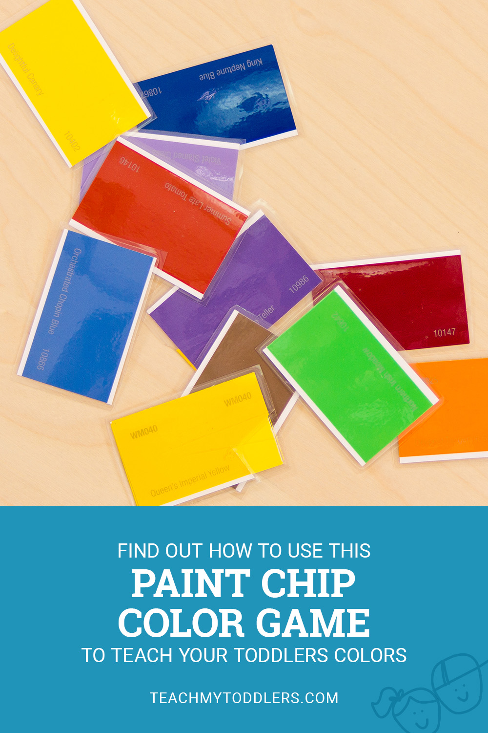 Find out how to use this paint chip color game to teach your toddlers colors