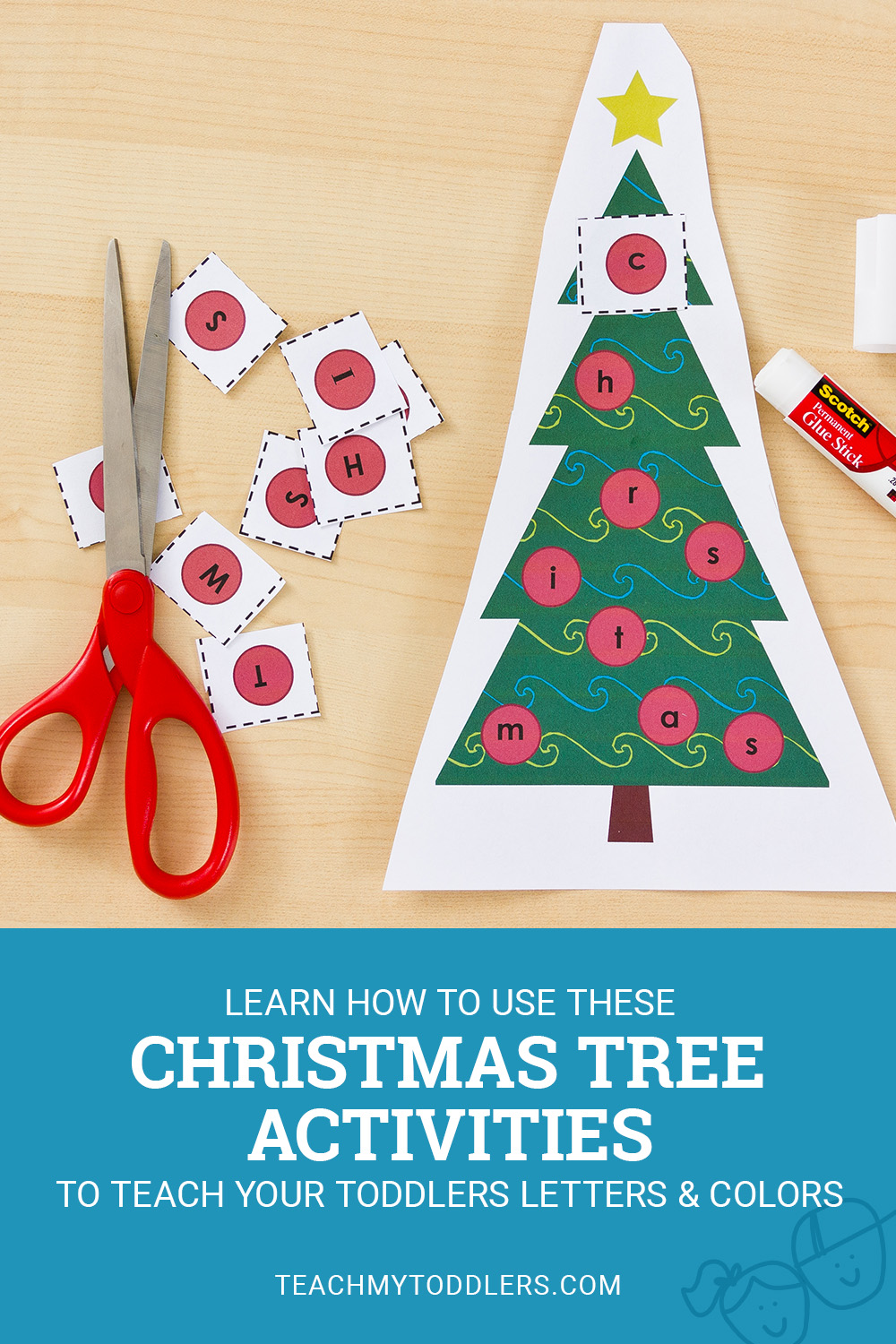Learn how to use these christmas tree activities to teach toddlers letters and colors