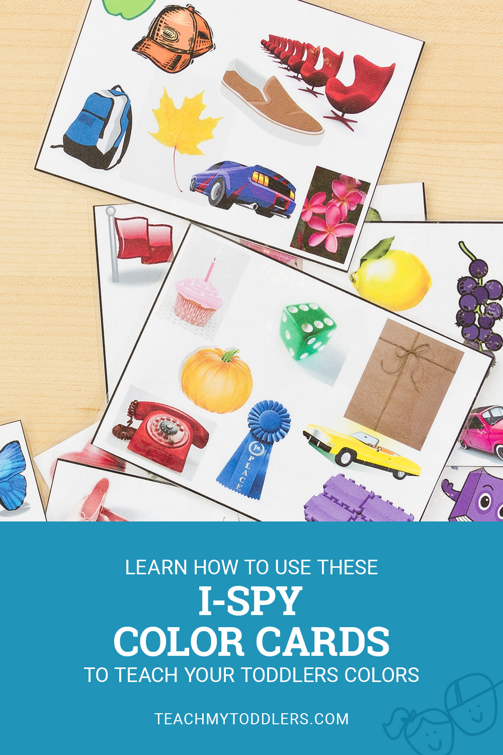 Learn how to use these ispy color cards to teach toddlers colors