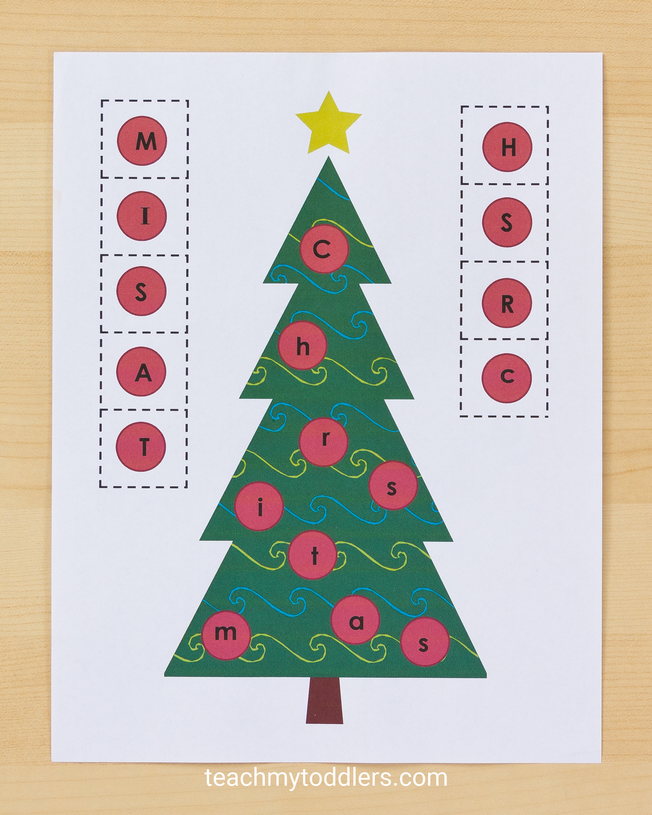 Teach your toddlers letters and colors with these unique christmas tree activities