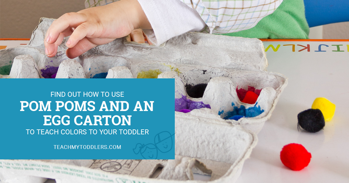 This egg carton and pom poms can teach your toddler colors