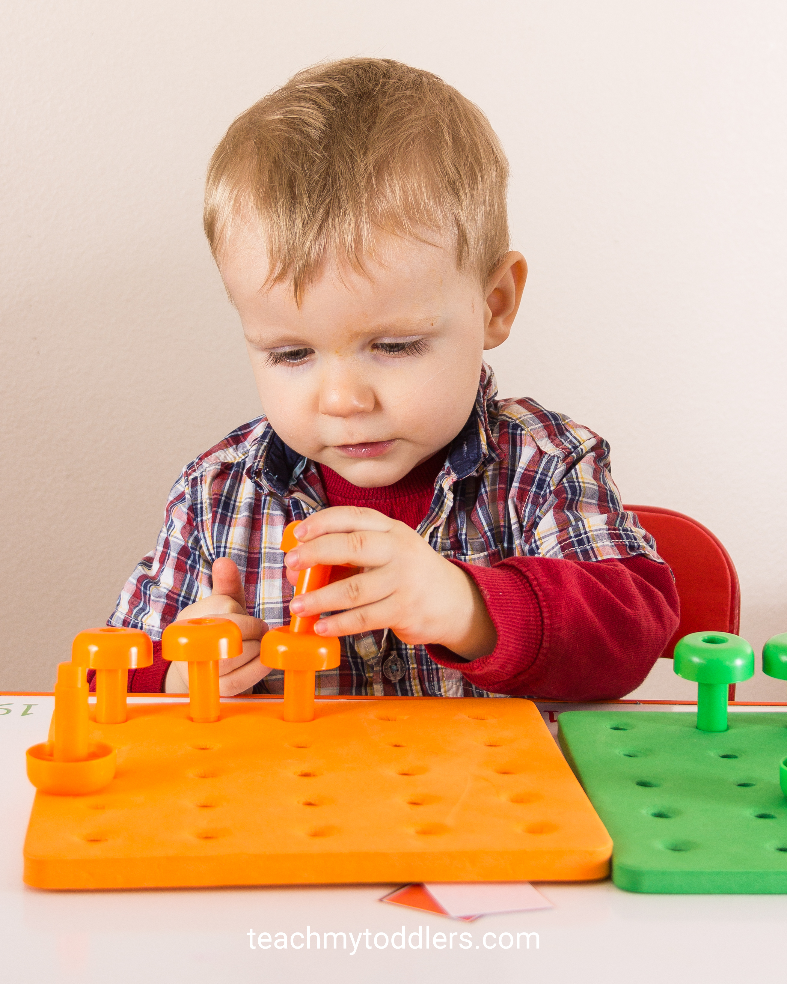 These peg boards and pegs will help teach your toddlers colors