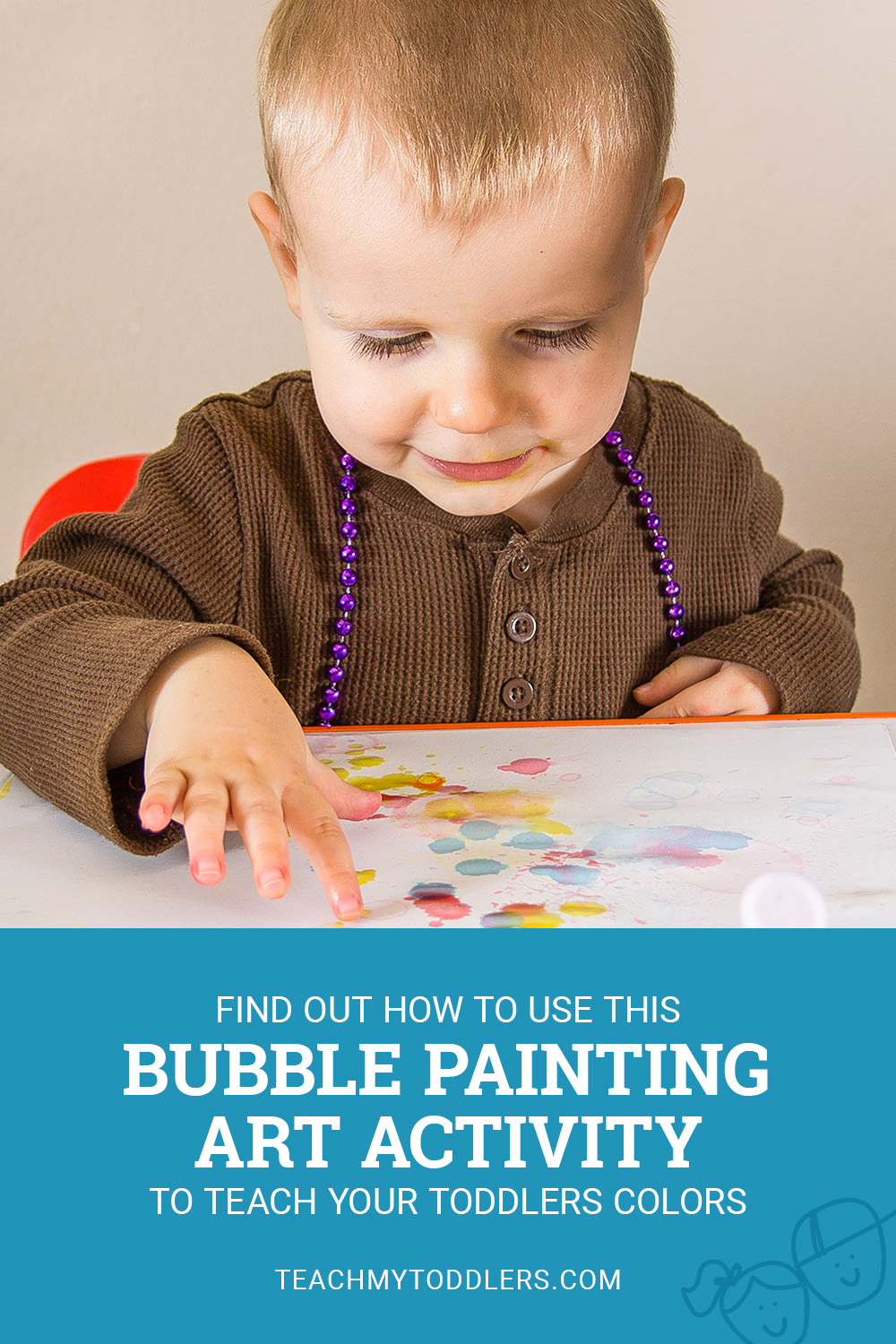 Find out how to use this bubble painting art activity to teach your toddlers colors