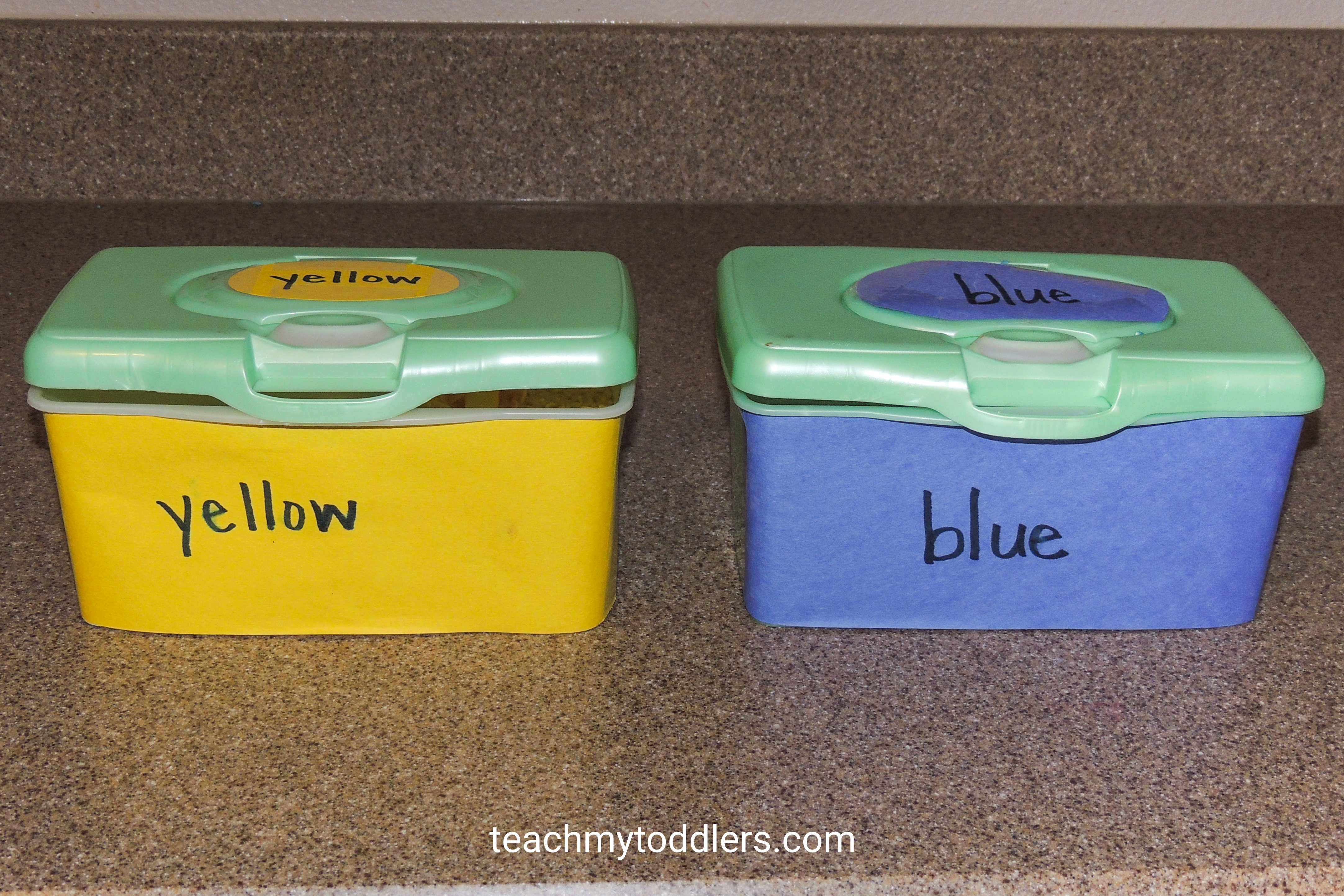 Learn how to teach your toddlers colors with these sensory bins