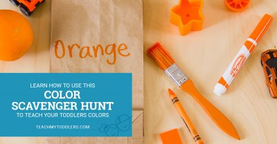 Learn how to use this color scavenger hunt to teach toddlers colors