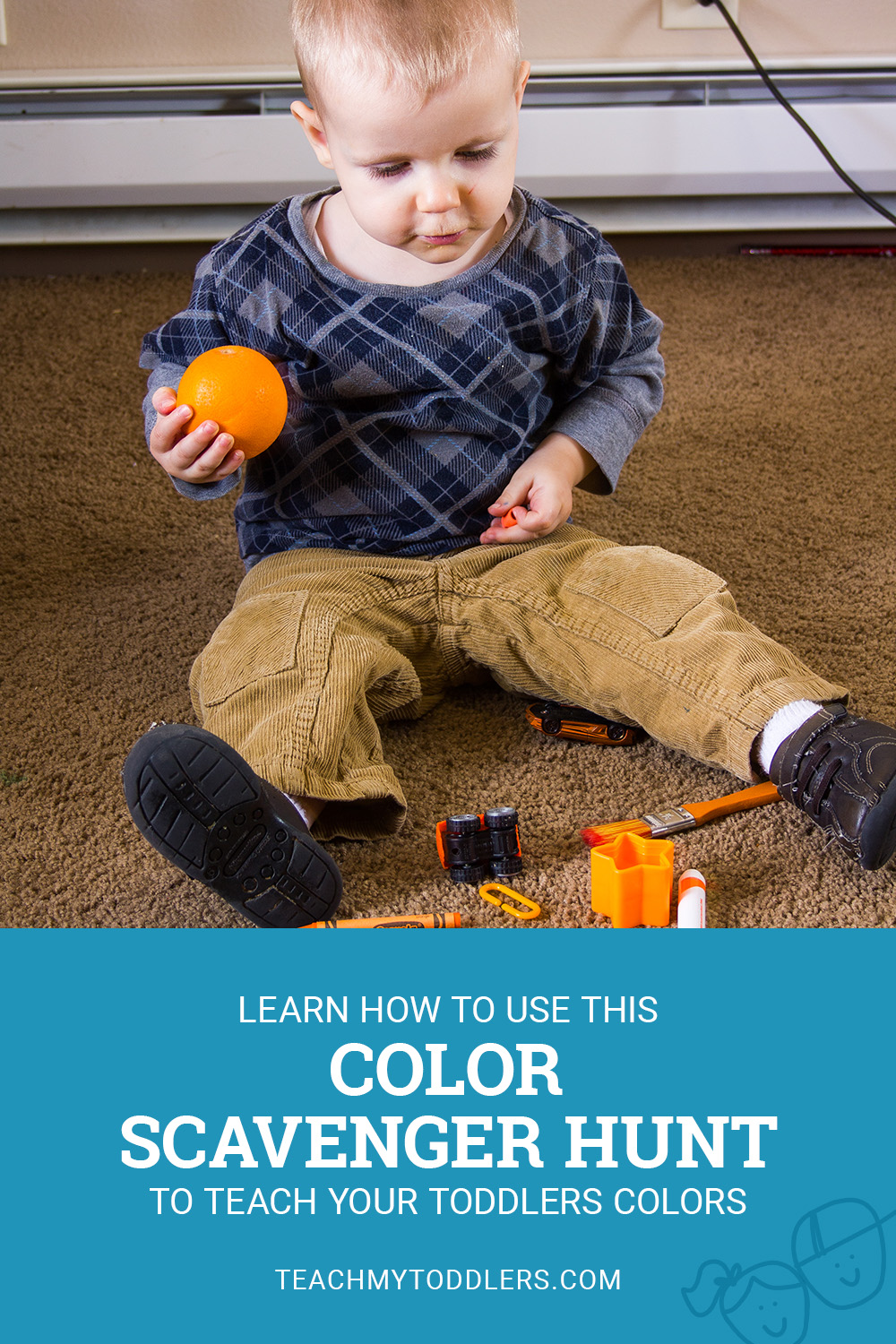 Learn how to use this color scavenger hunt to teach your toddlers colors