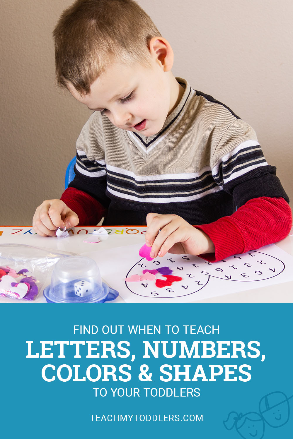 Find out when to teach letters, numbers, colors and shapes to toddlers