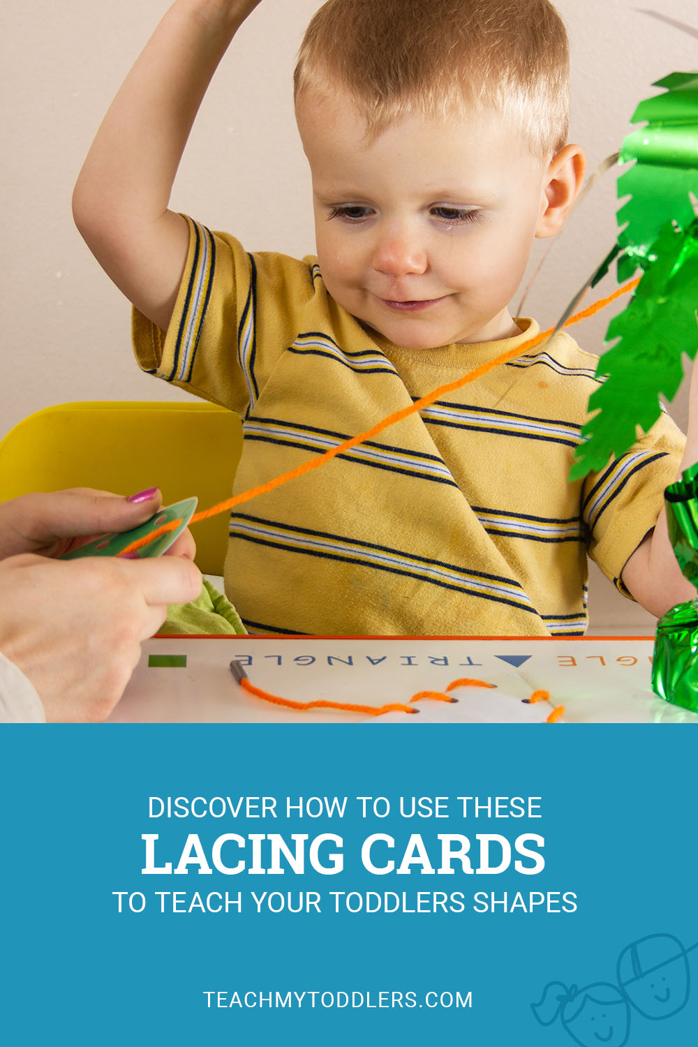 Discover how to use these lacing cards to teach toddlers shapes