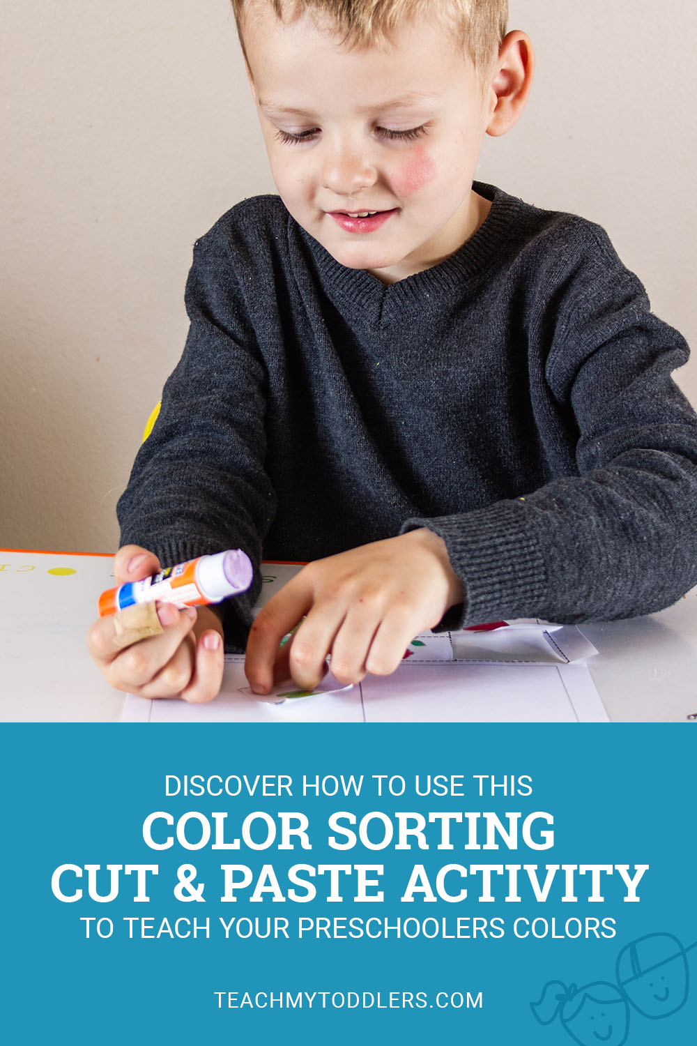 Discover how to use this color sorting cut and paste activity to teach your preschoolers colors