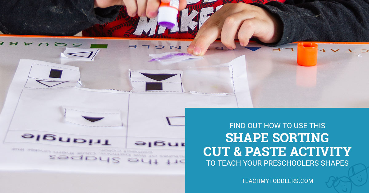 Find out how to use this shape sorting cut and paste activity to teach preschoolers shapes