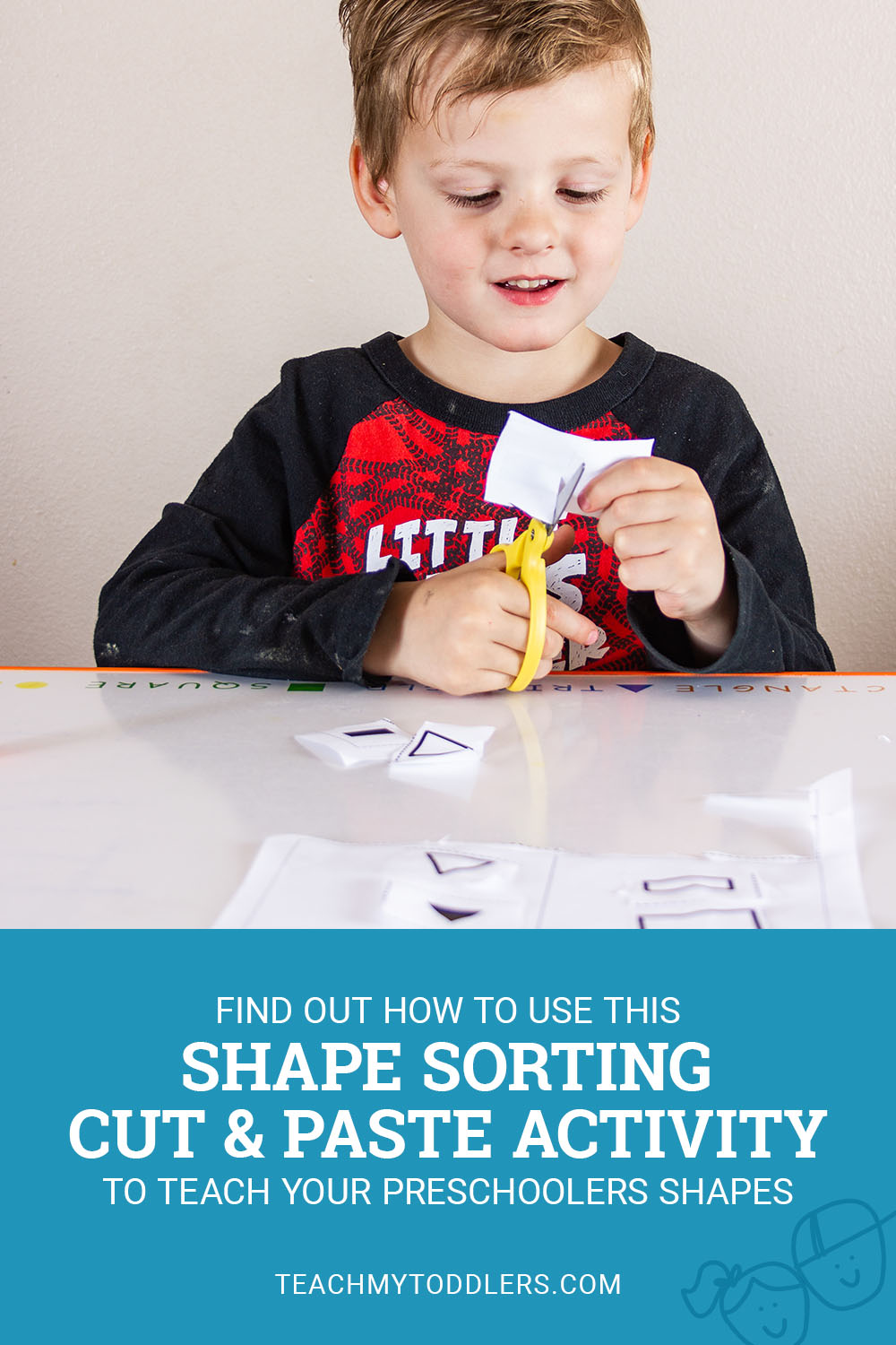 Find out how to use this shape sorting cut and paste activity to teach your preschoolers shapes