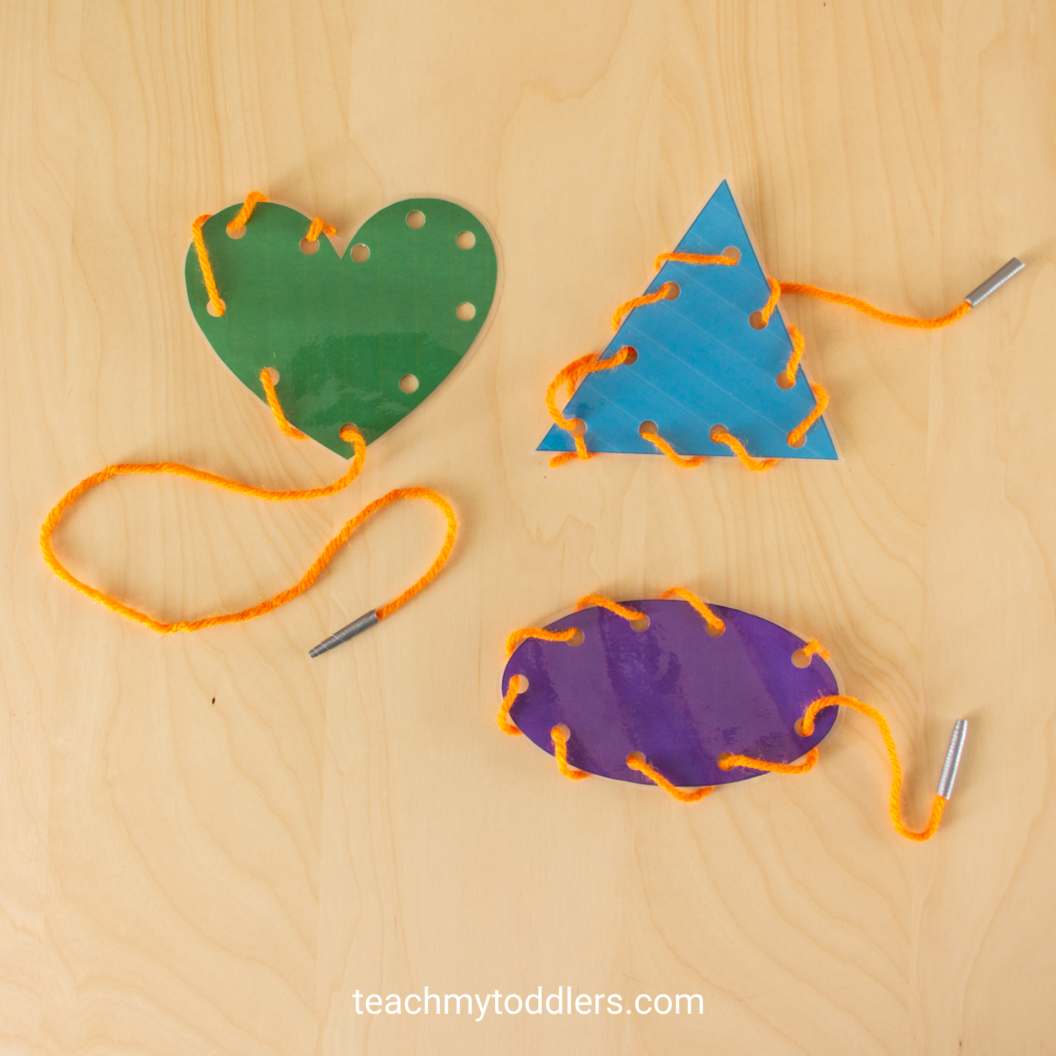 Learn how to use these lacing cards to teach your toddlers shapes