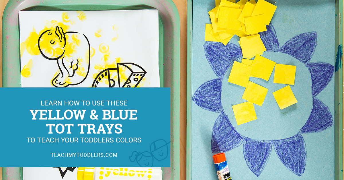 Learn how to use these yellow and blue tot trays to teach toddlers colors