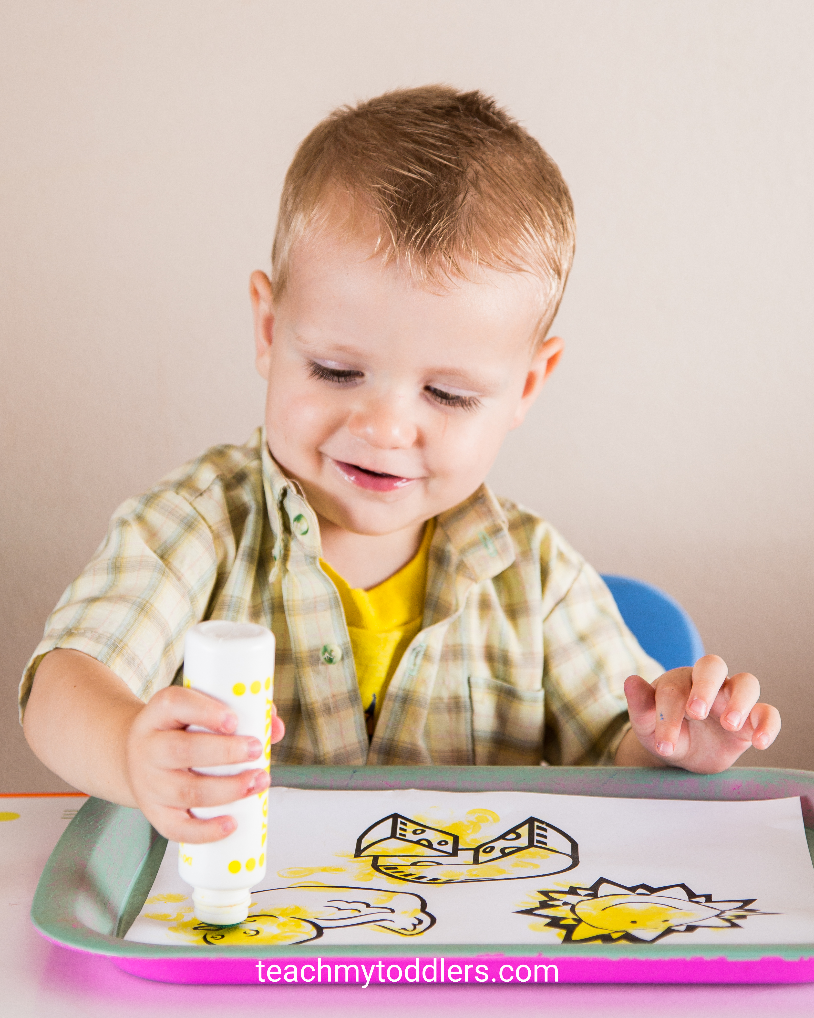 Teach toddlers the color yellow with these tot trays