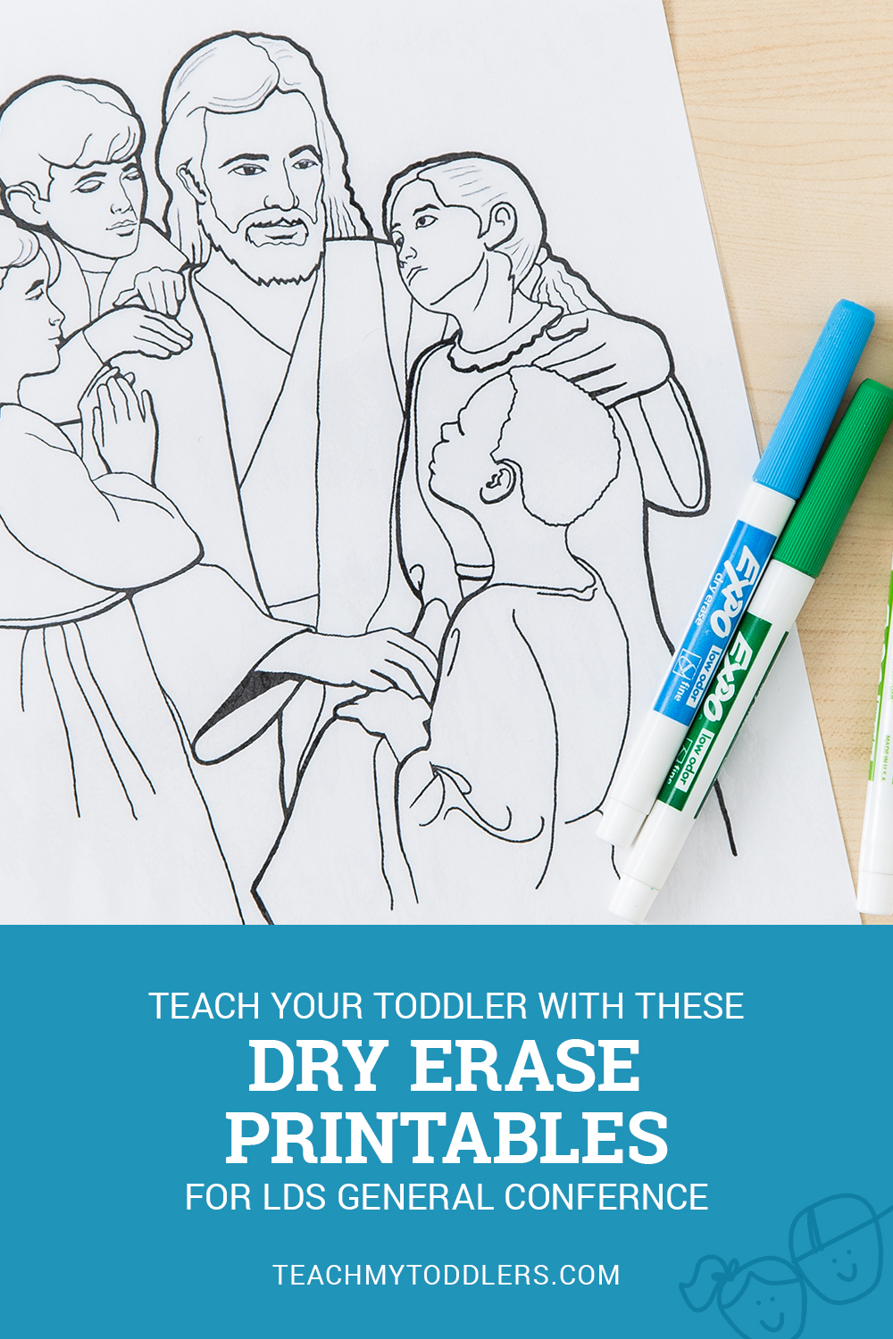 A printable image of Jesus Christ with children for LDS General Conference with dry erase markers