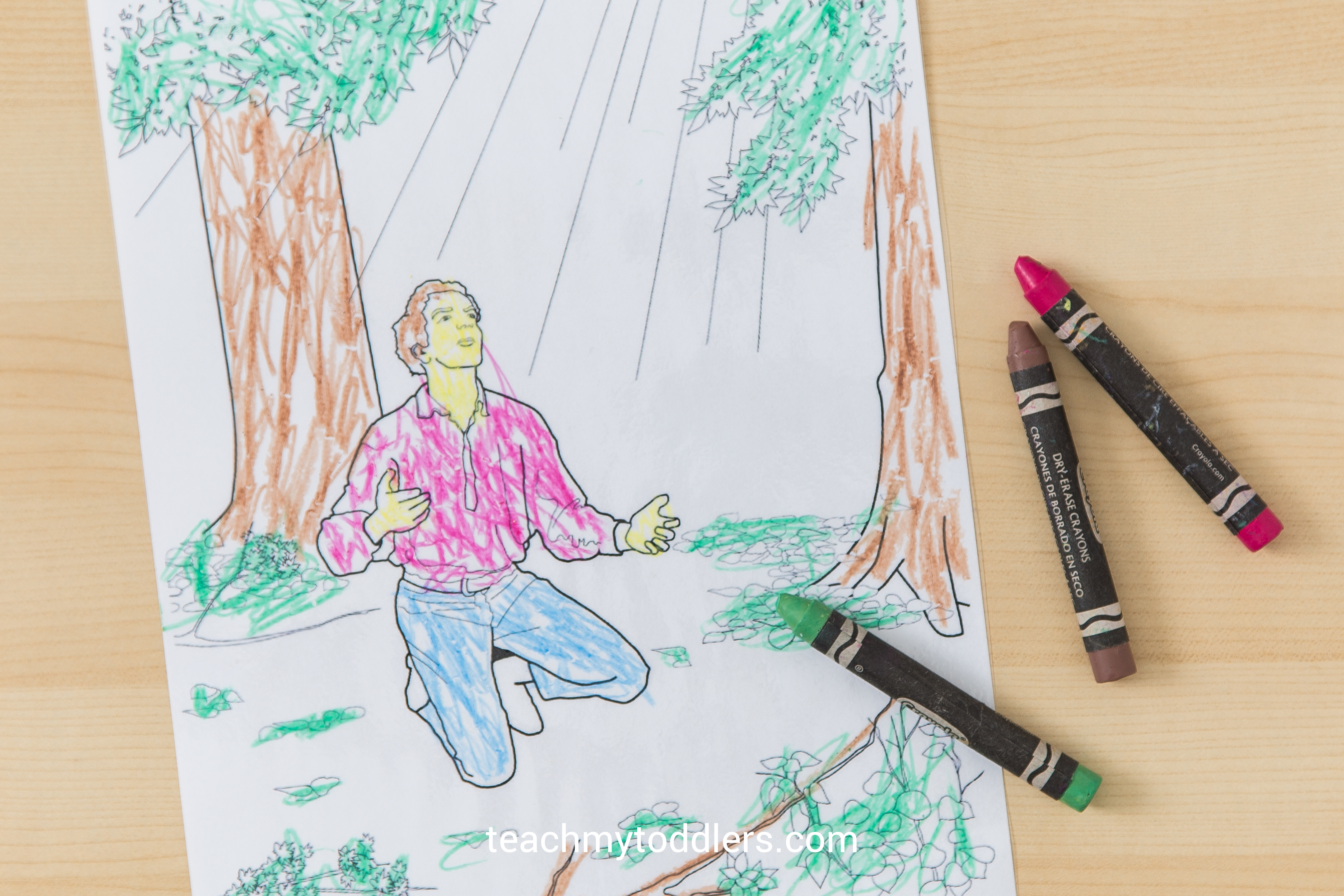 A printable laminated picture of Joseph Smith praying in the Sacred Grove for your toddler to color during LDS General Conference