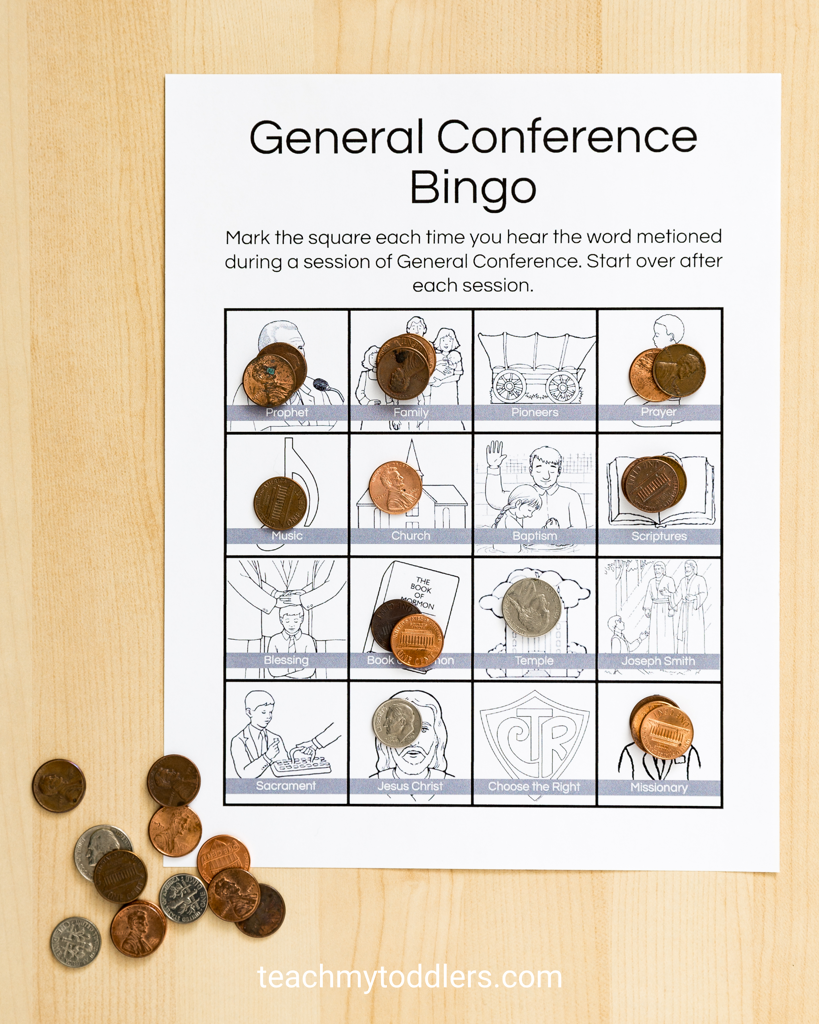 Check out these awesome bingo sheets general conference toddler activities