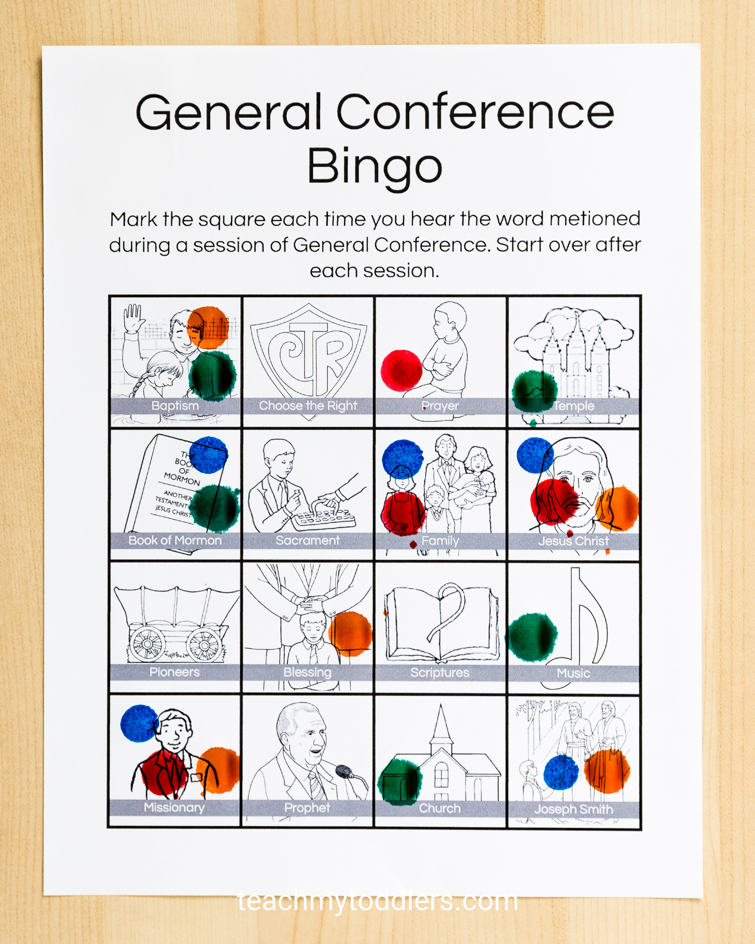 Check out these differenet bingo sheets general conference toddler activities