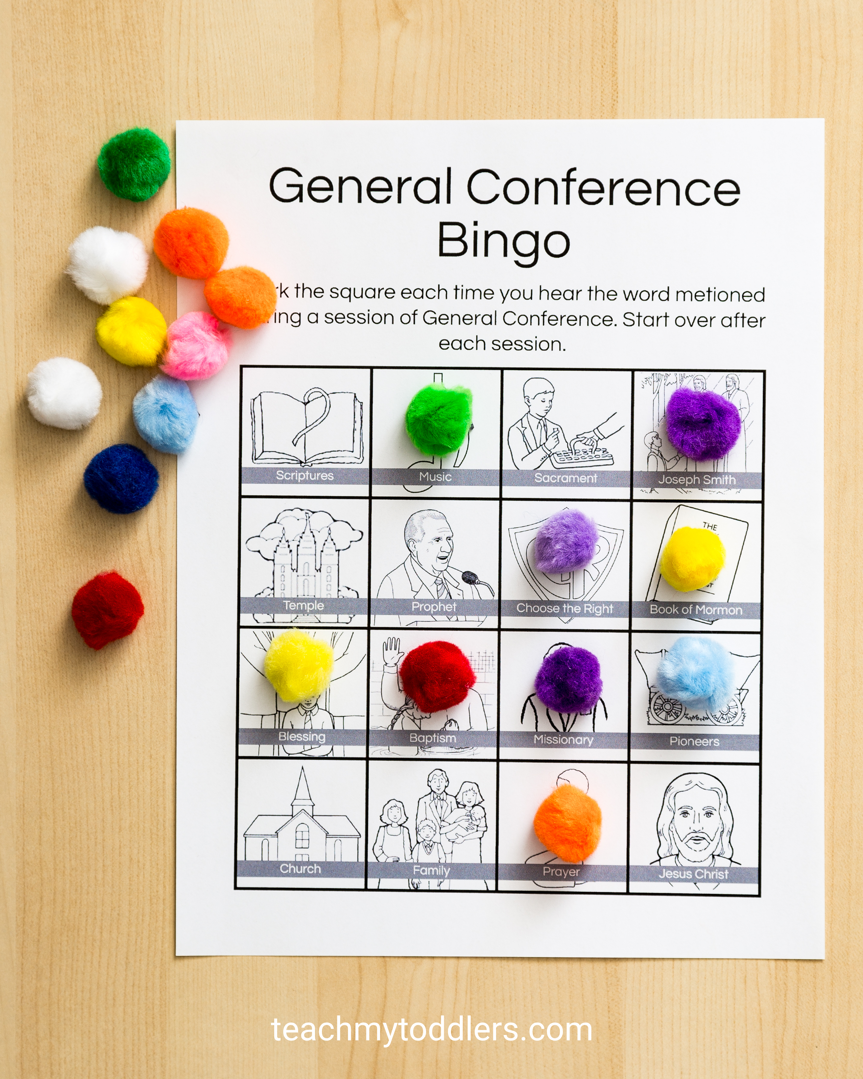Check out these exciting bingo sheets general conference toddler activities