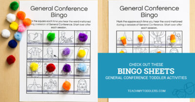 Check out these fun bingo sheets general conference toddler activities