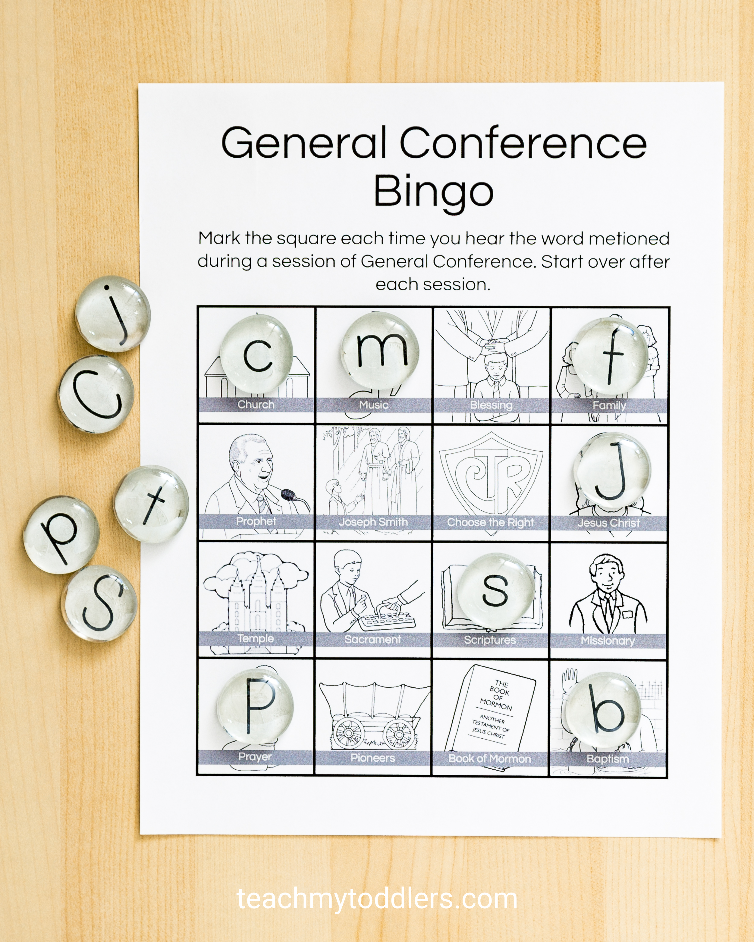 Check out these perfect bingo sheets general conference toddler activities