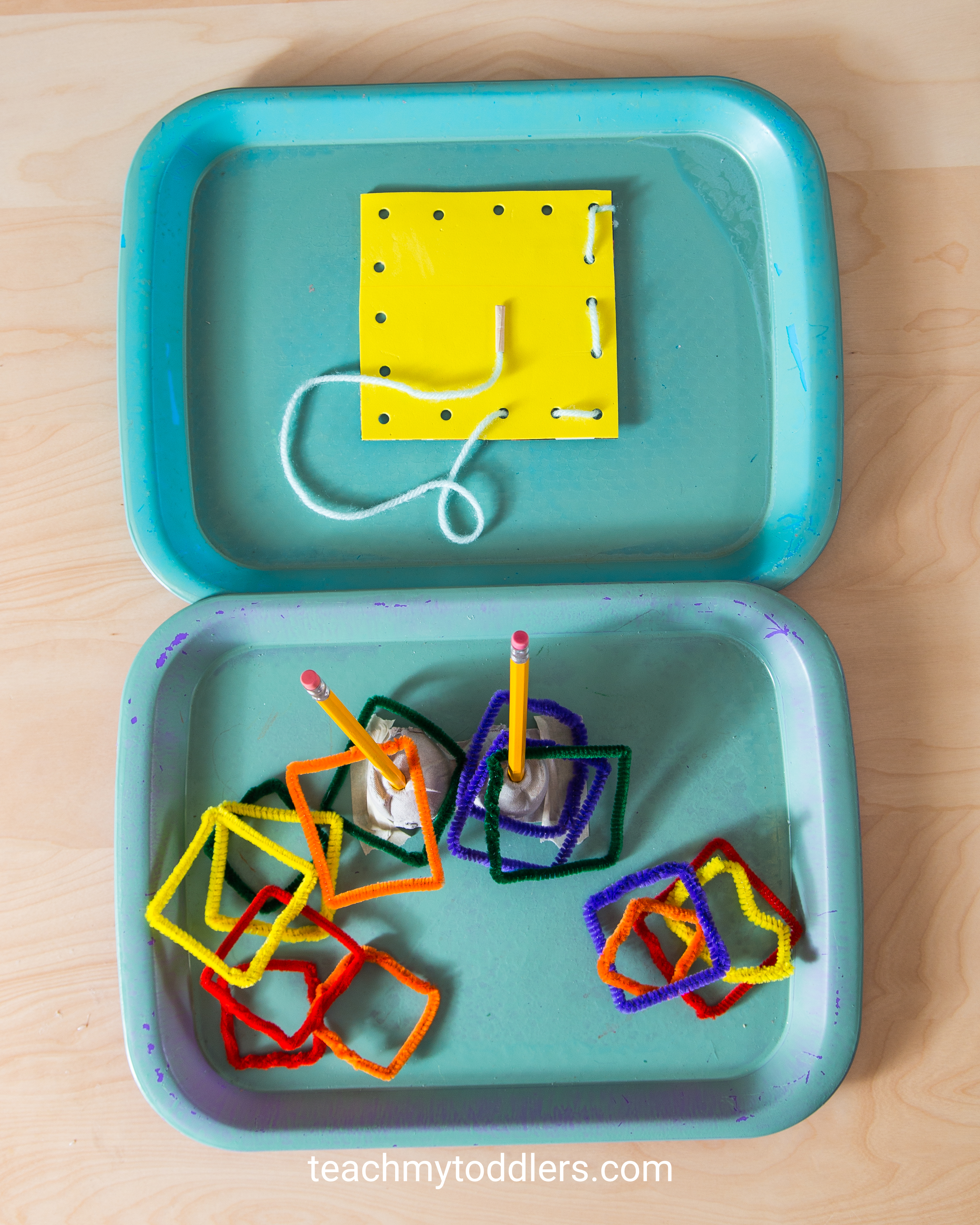 Discover how to use these square trays to teach your toddlers shapes
