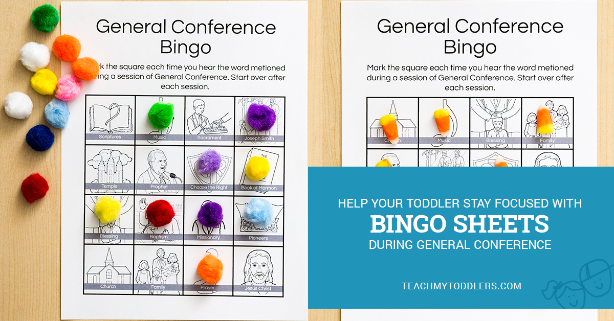 Help your toddler stay focused with this General Conference Bingo Activity