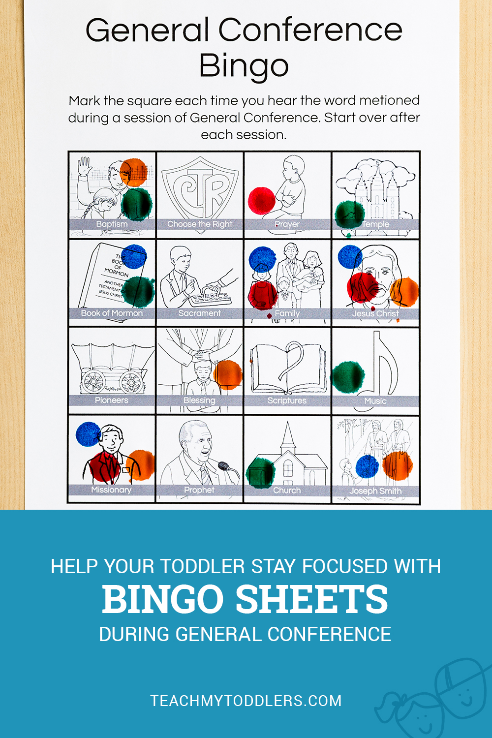 Help your toddlers stay focused with this General Conference Bingo Activity