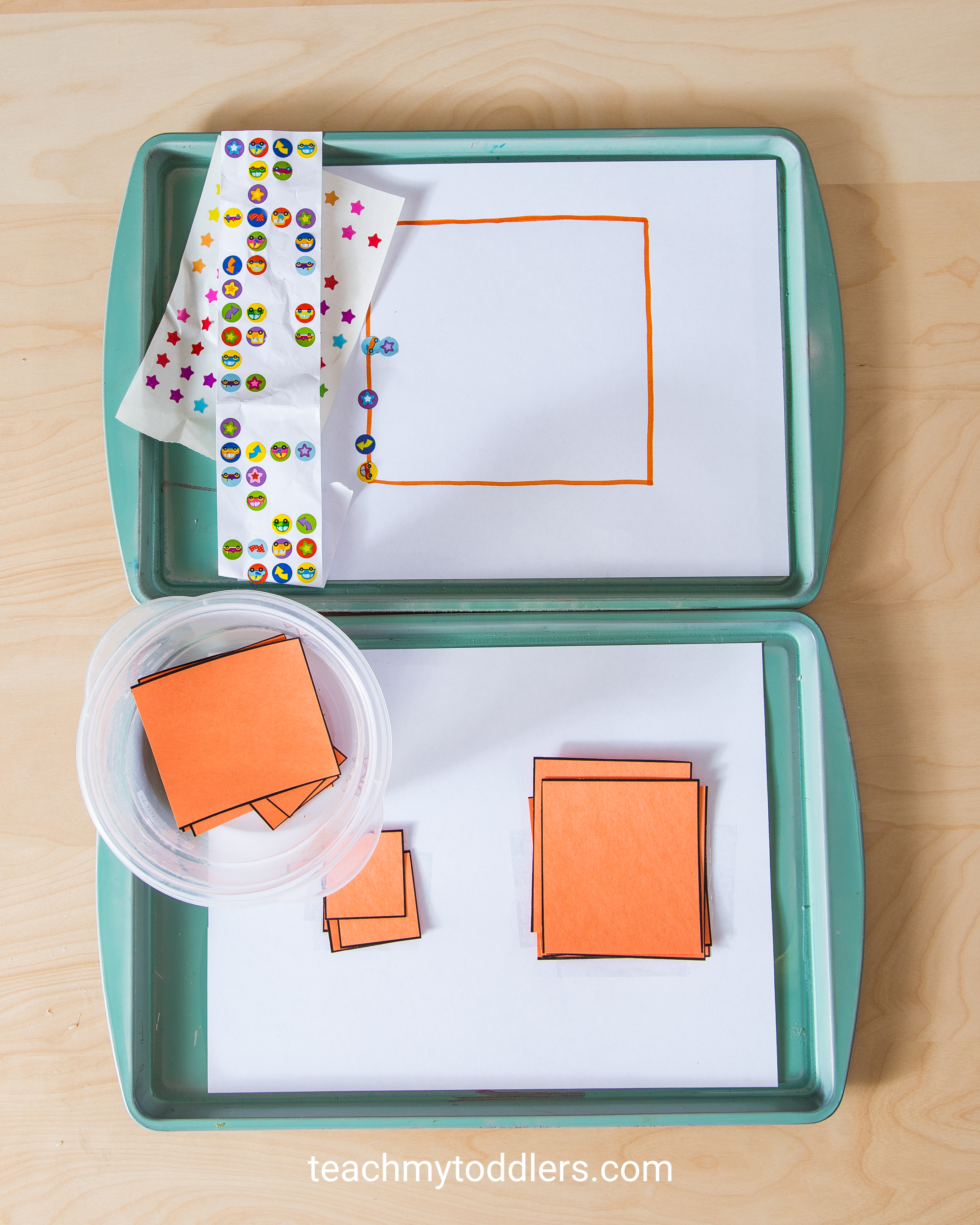 Learn how to use these square trays to teach your toddlers shapes