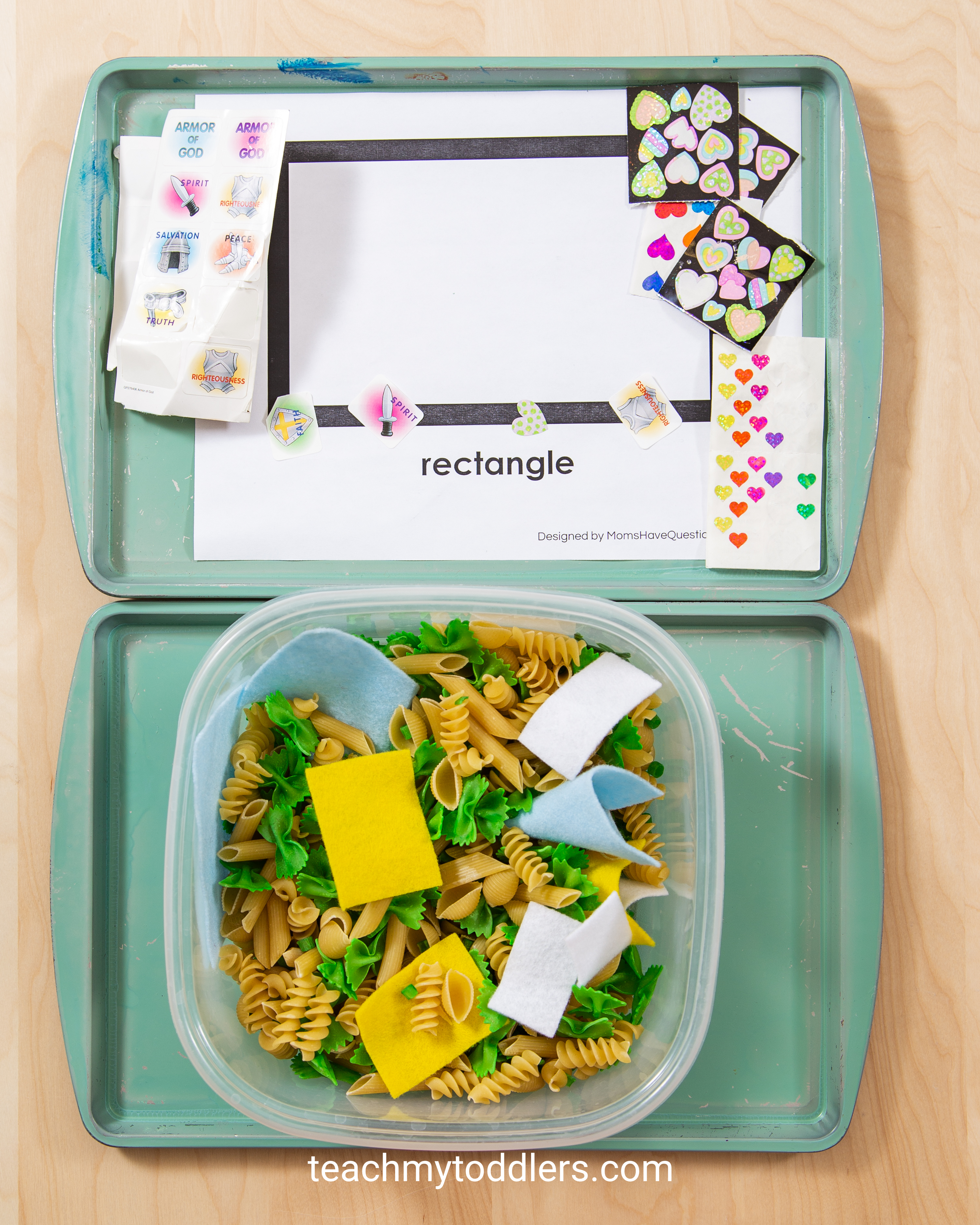 Use these awesome rectangle trays activities to teach toddlers shapes