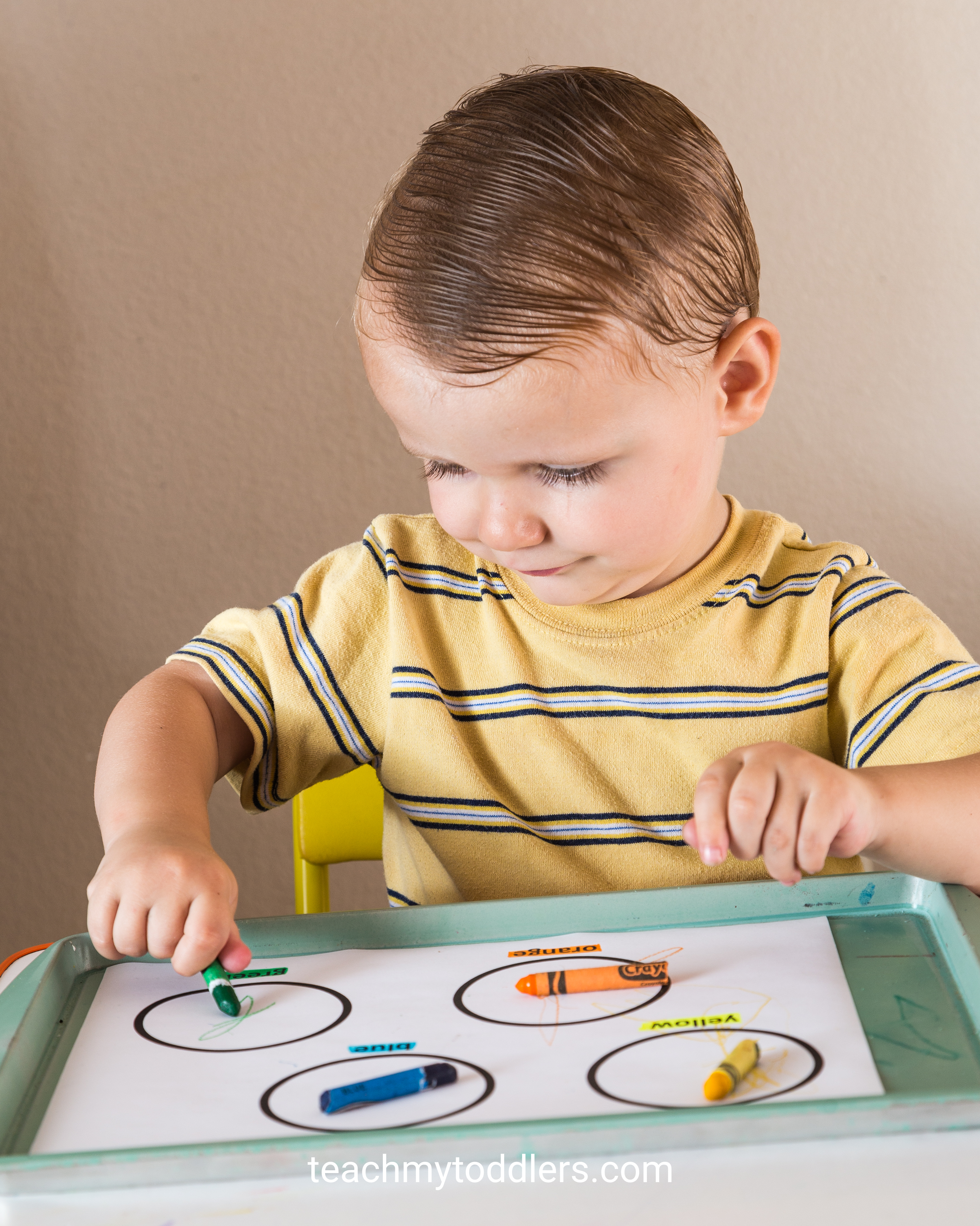 Use these exciting circle toddler trays to teach your toddlers shapes