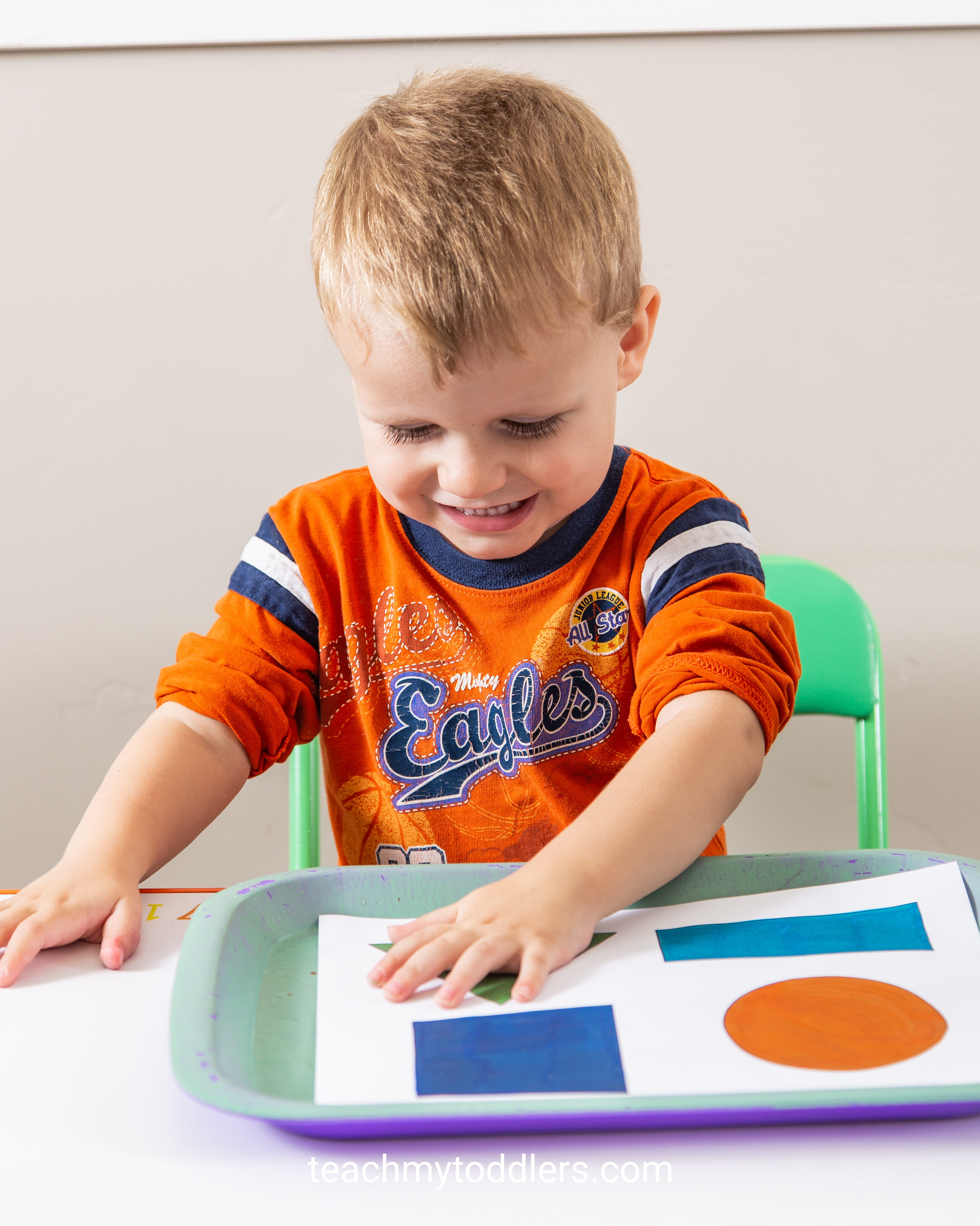 Use these exciting triangle trays to teach your toddlers shapes