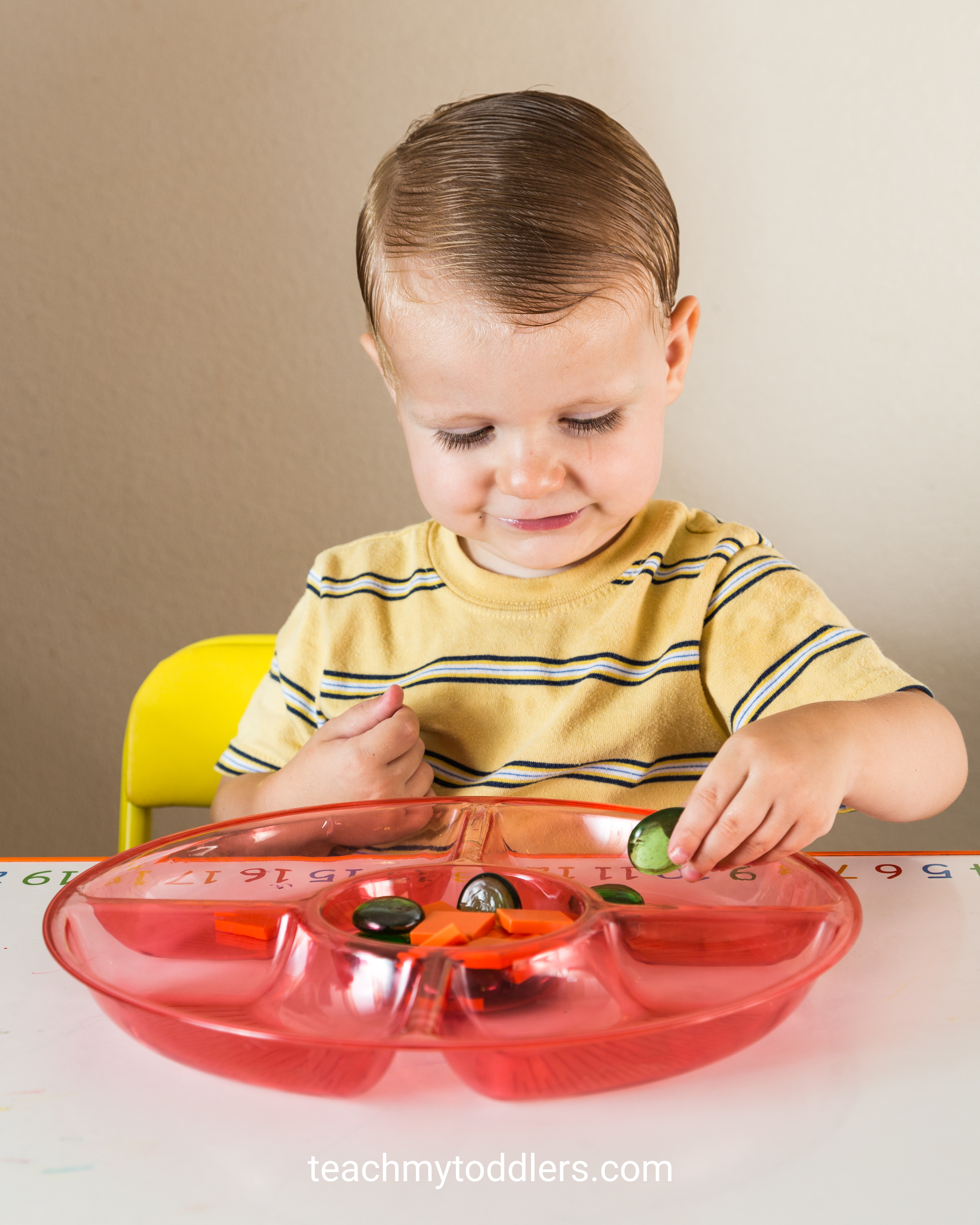 Use these great circle toddler trays to teach your toddlers shapes