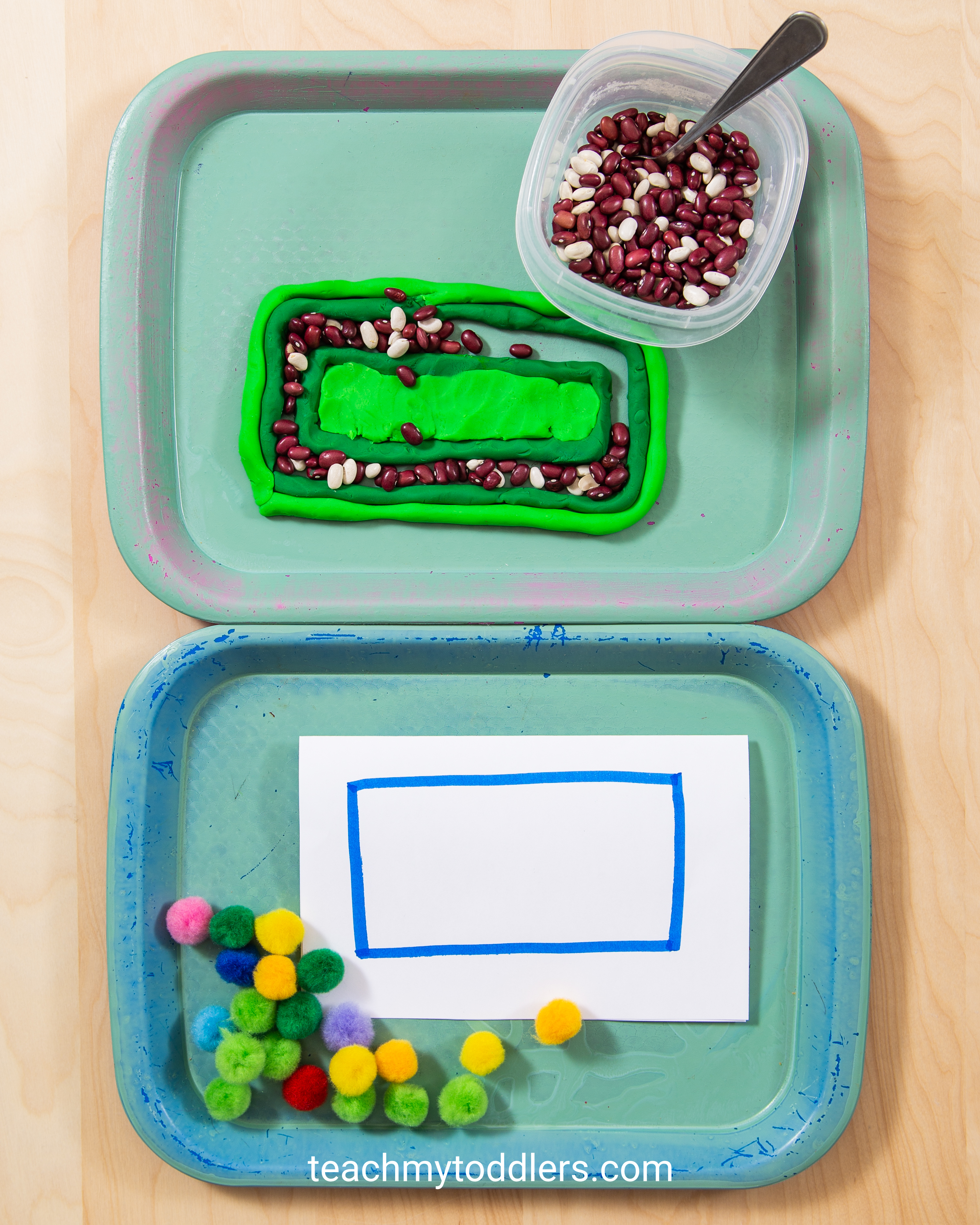 Use these great rectangle trays activities to teach toddlers shapes
