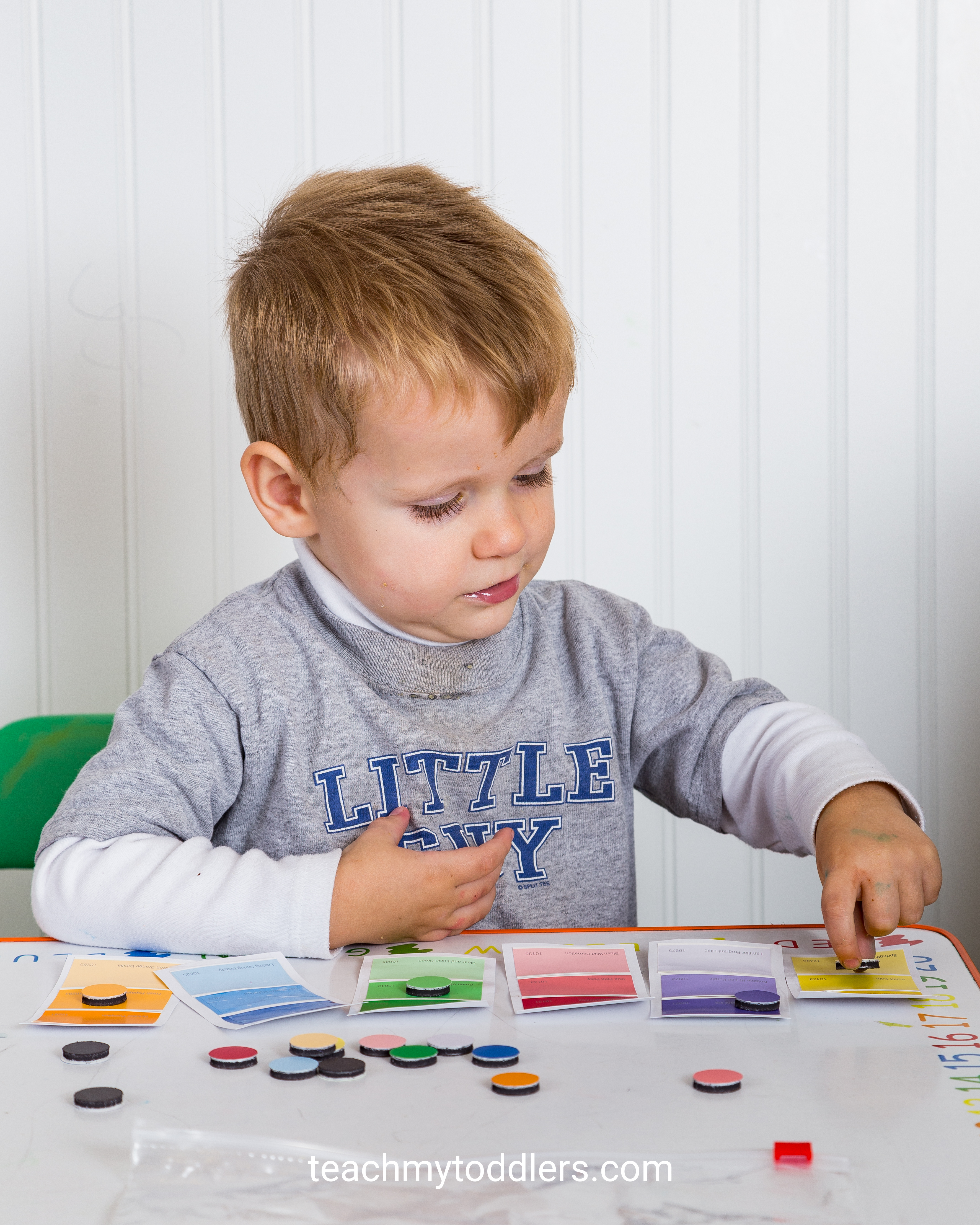 A fun matching game to teach toddlers colors using paint chips