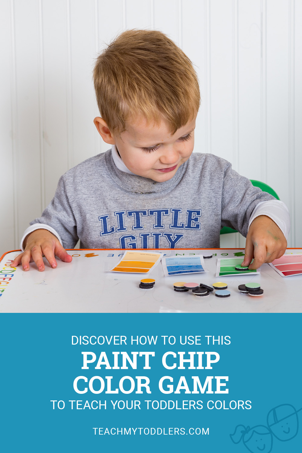 Discover how to use this paint chip color match game to teach your toddlers colors