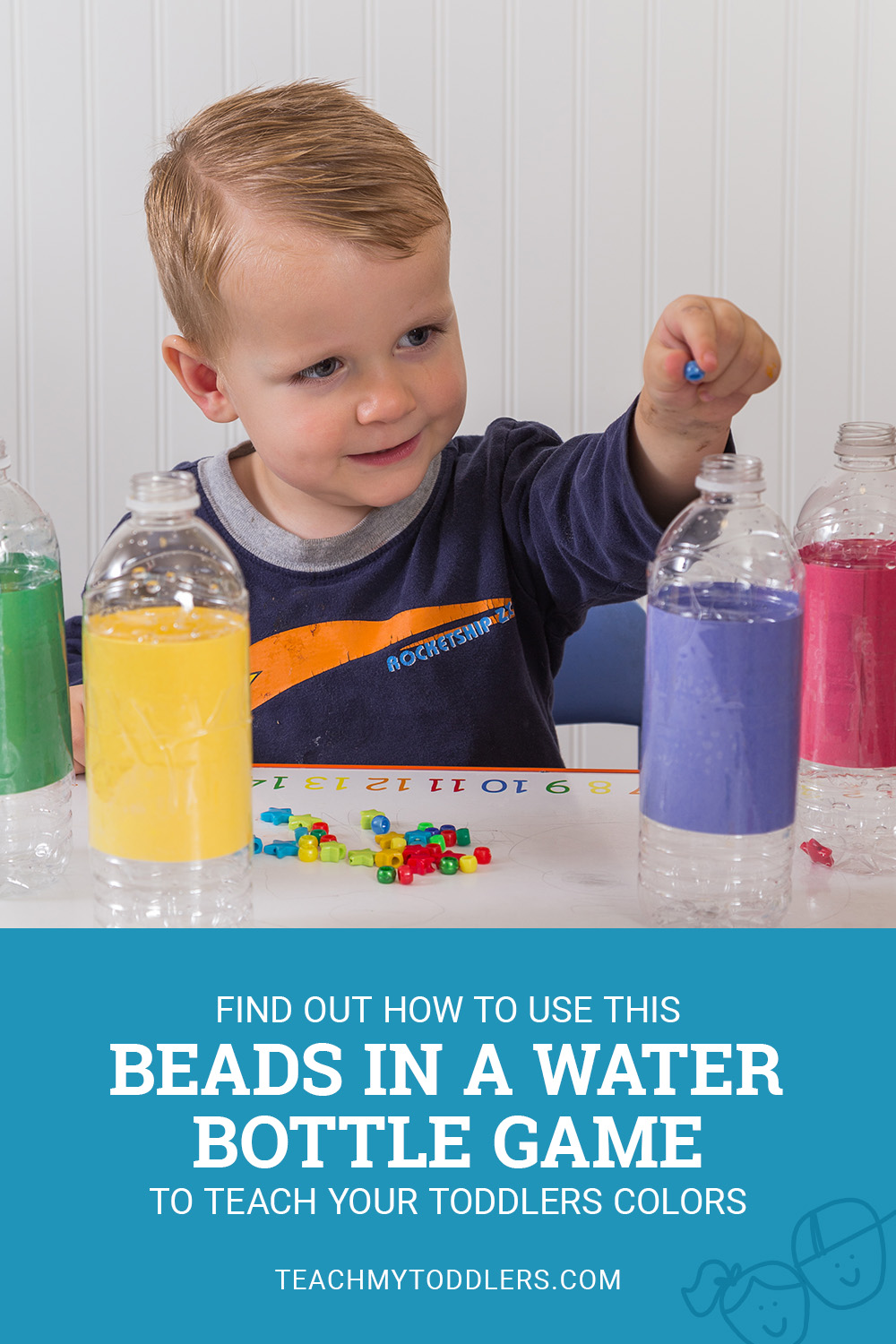 Find out how to use this beads in a water bottle game to teach toddlers colors