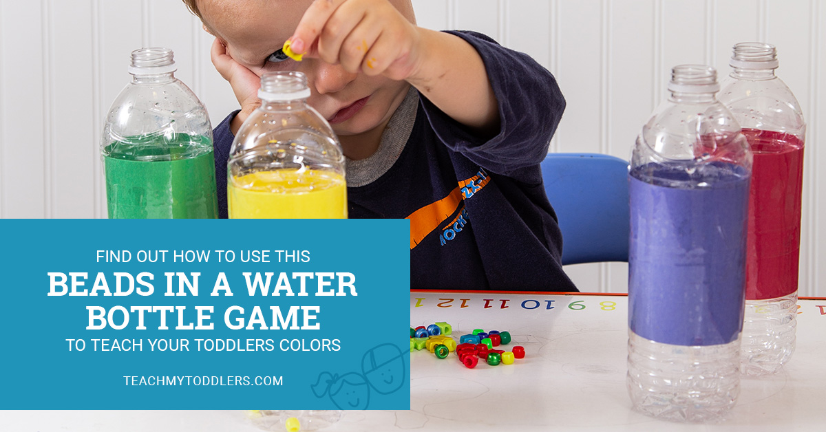 Find out how to use this beads in a water bottle game to teach your toddlers colors