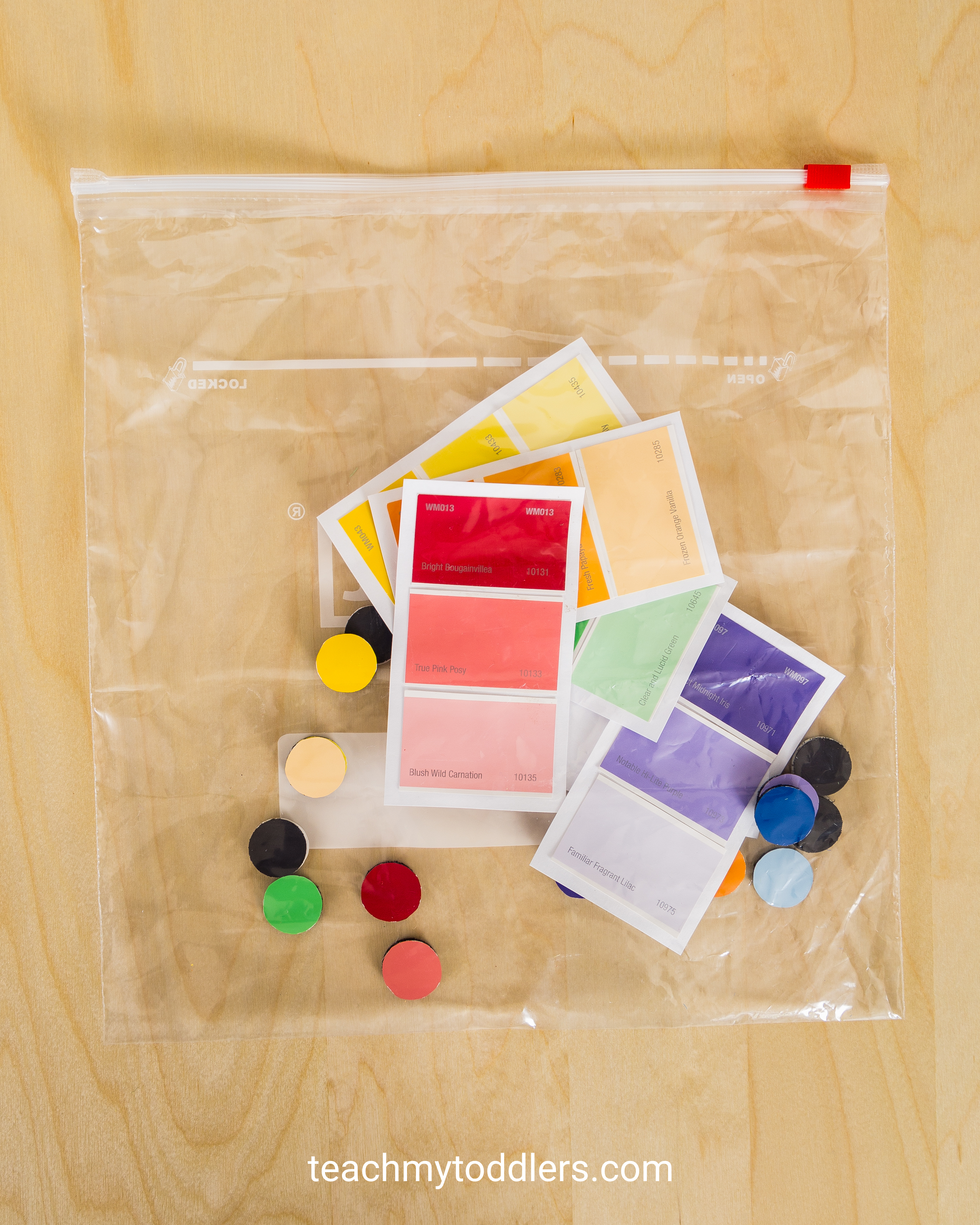 This is a great matching game to teach your toddlers colors using paint chips